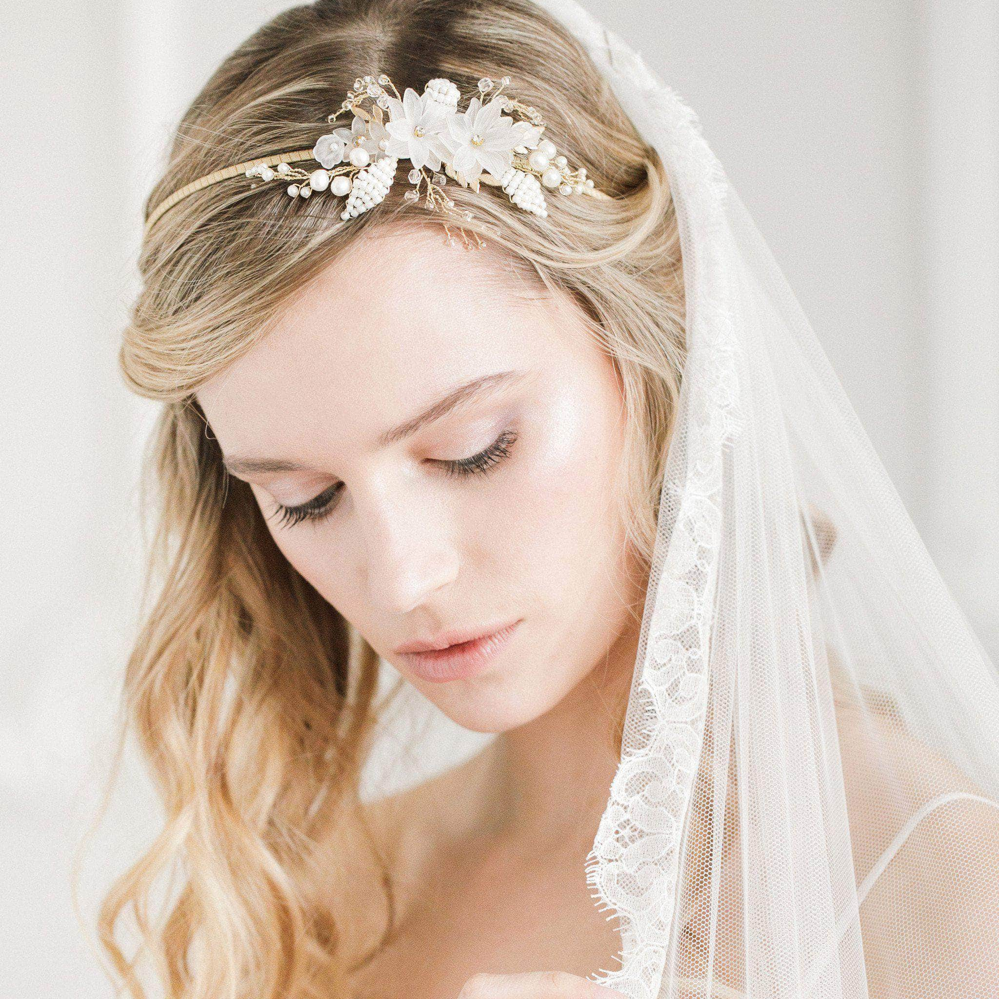 Flower and leaf botanical wedding headband 'Rani' | Britten Weddings
