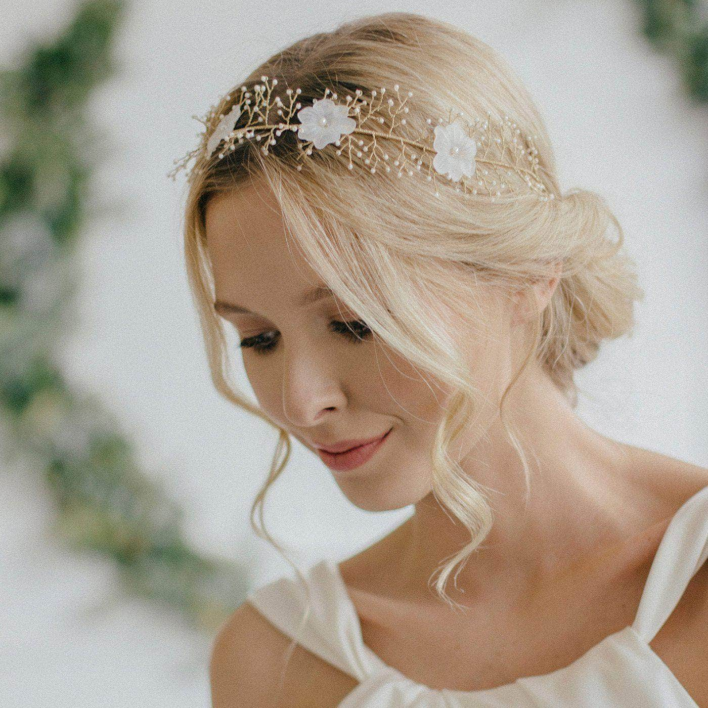 Gold spray flower hair vine - 'Sadie' | Britten Weddings