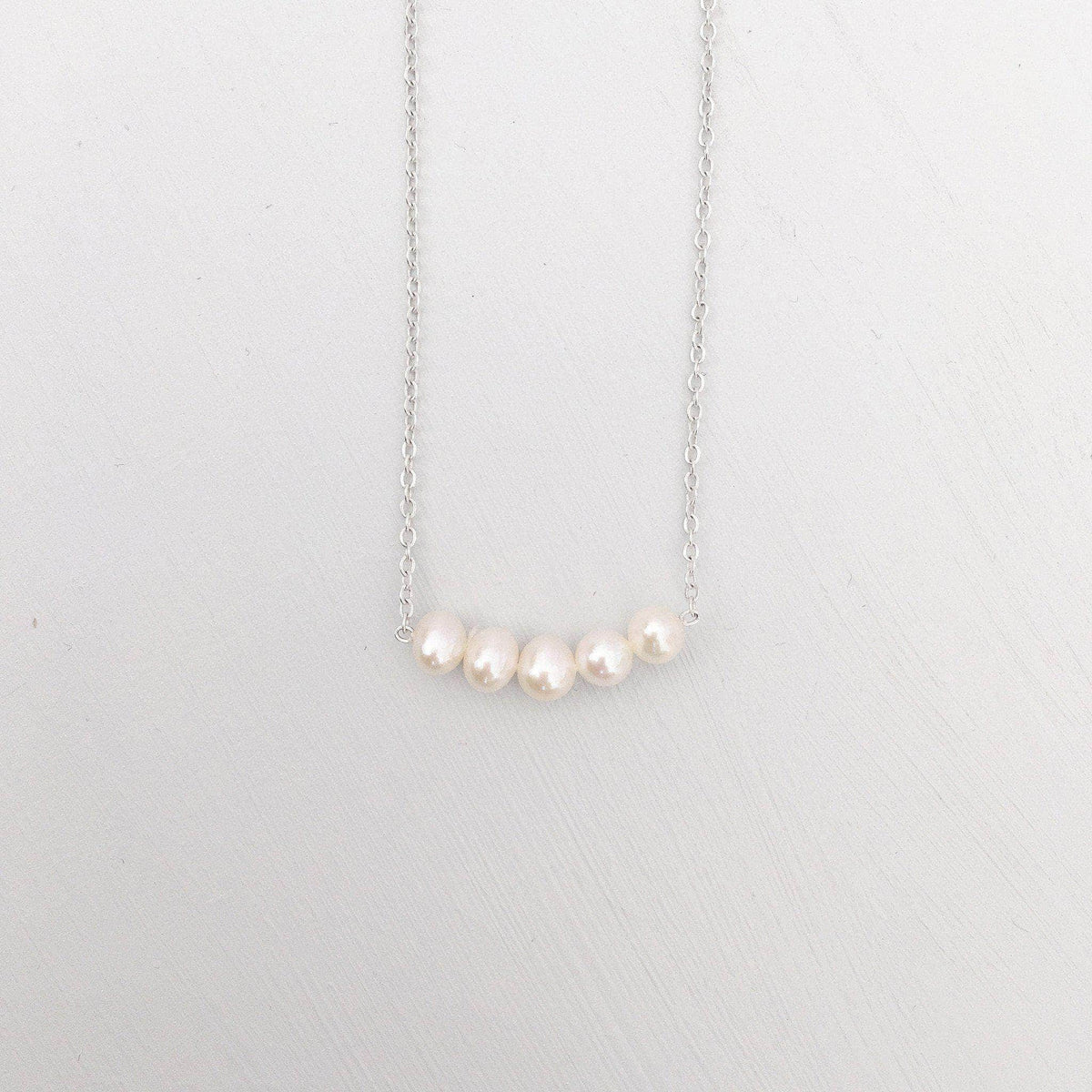 Wedding Necklace Silver Freshwater pearl wedding necklace - 'Aubrey'