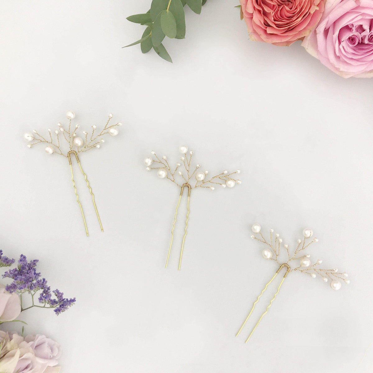 Wedding Hairpin Wedding hair pins gold with freshwater pearl spray (x3) - 'Eve'