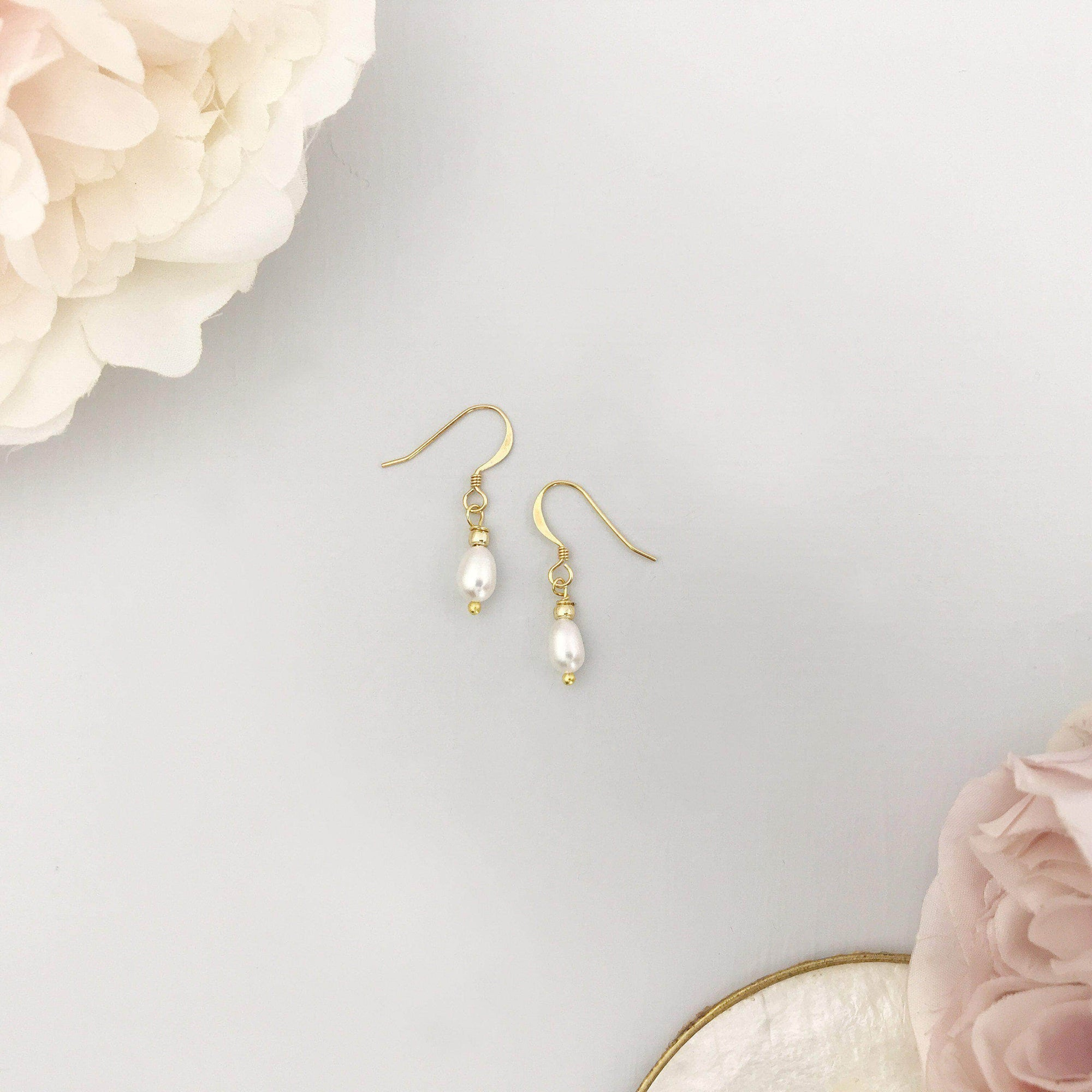Wedding Earring Freshwater pearl wedding earrings gold - 'Charlie'