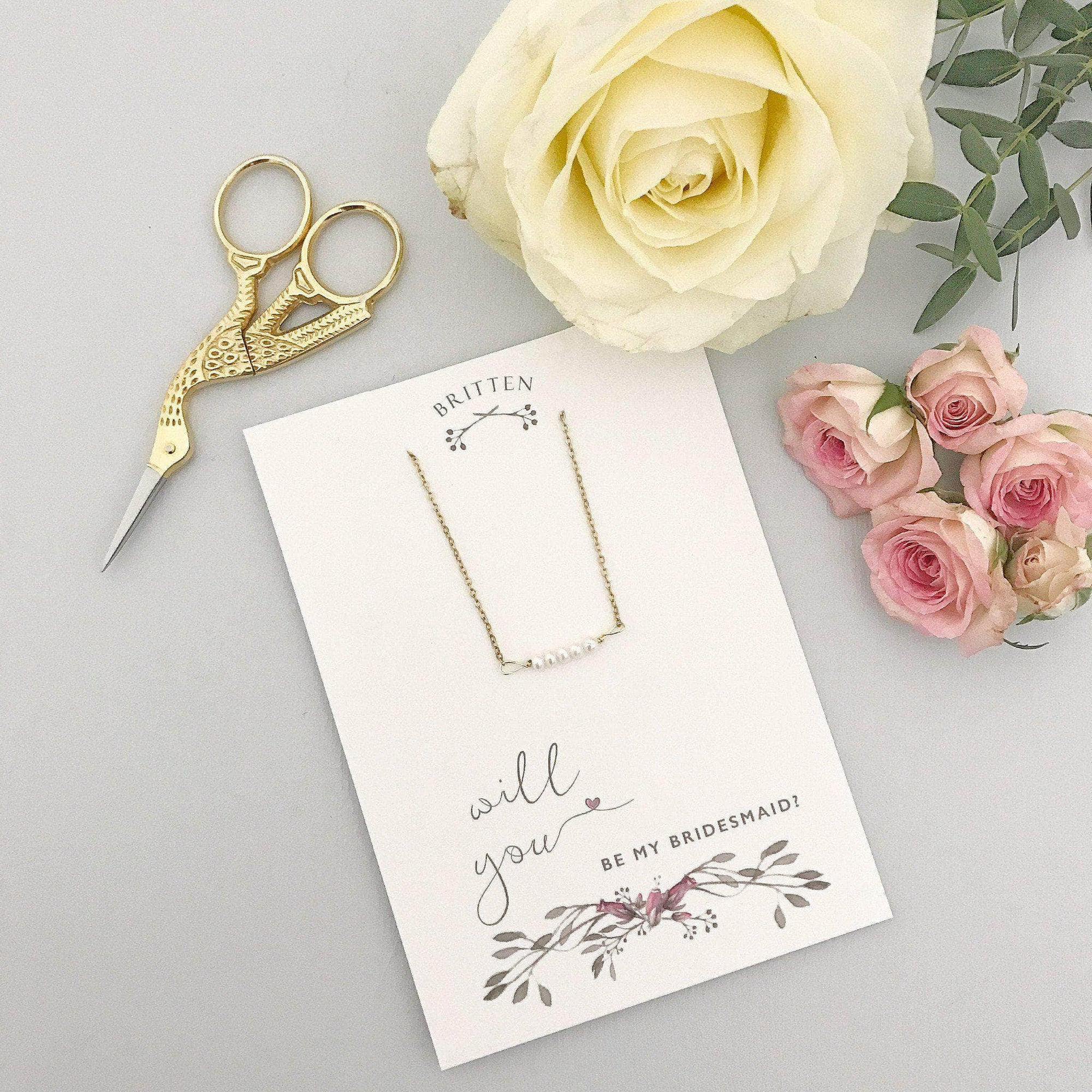 Bridesmaid Gift Gold Will you be my bridesmaid gift necklace - 'Freya' in gold