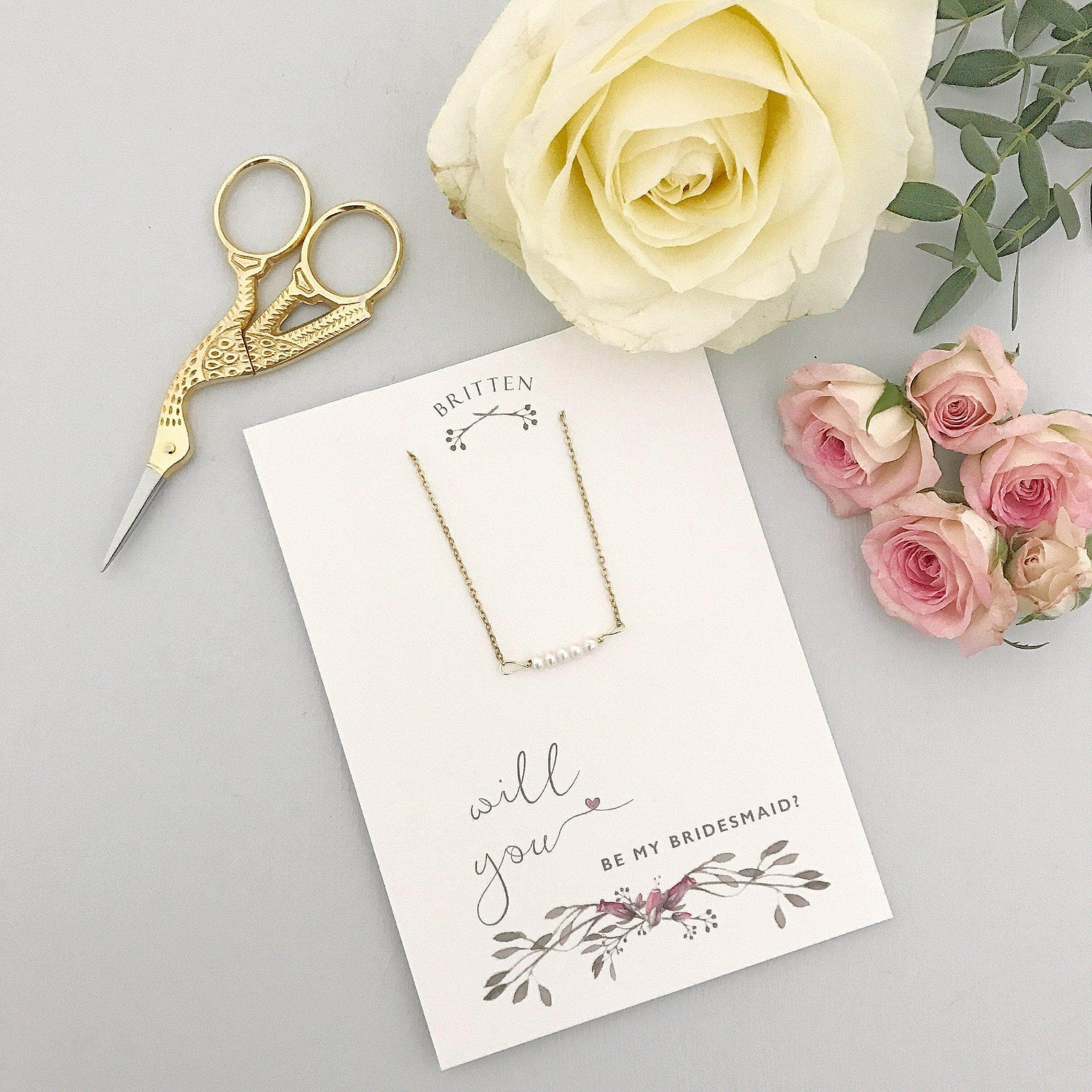 Bridesmaid Gift Gold Will you be my bridesmaid gift bracelet - 'Freya' in gold