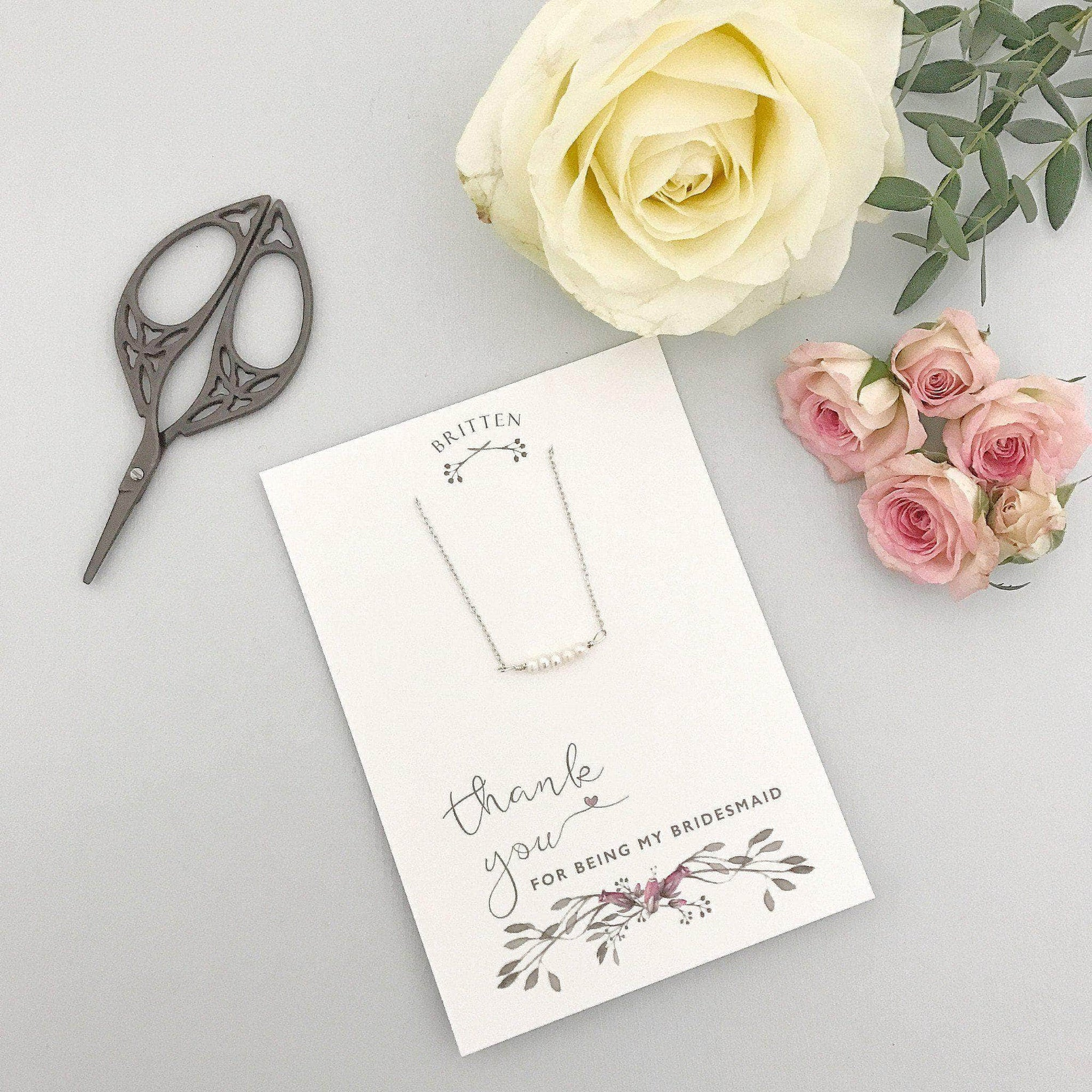 Bridesmaid Gift Silver Bridesmaid 'thank you' gift necklace - 'Freya' in silver