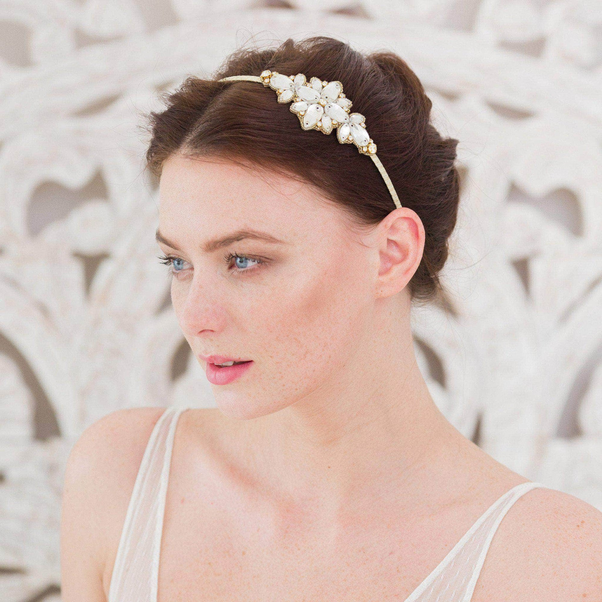 Wedding Headband Gold crystal wedding headband 'Lulia'