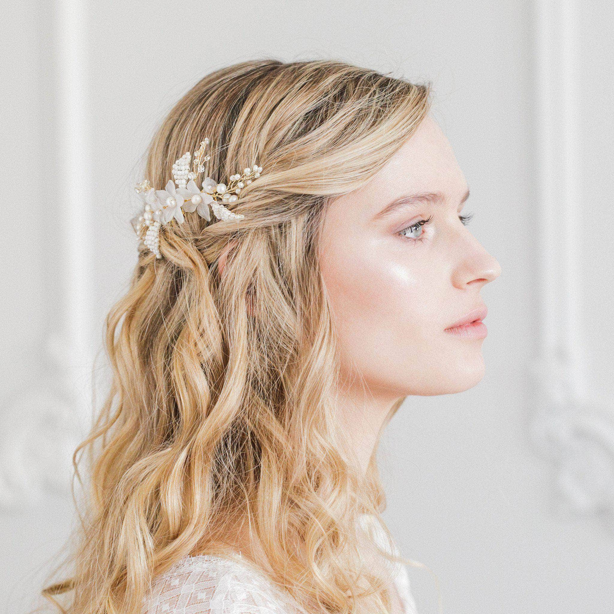 flower wedding comb gold