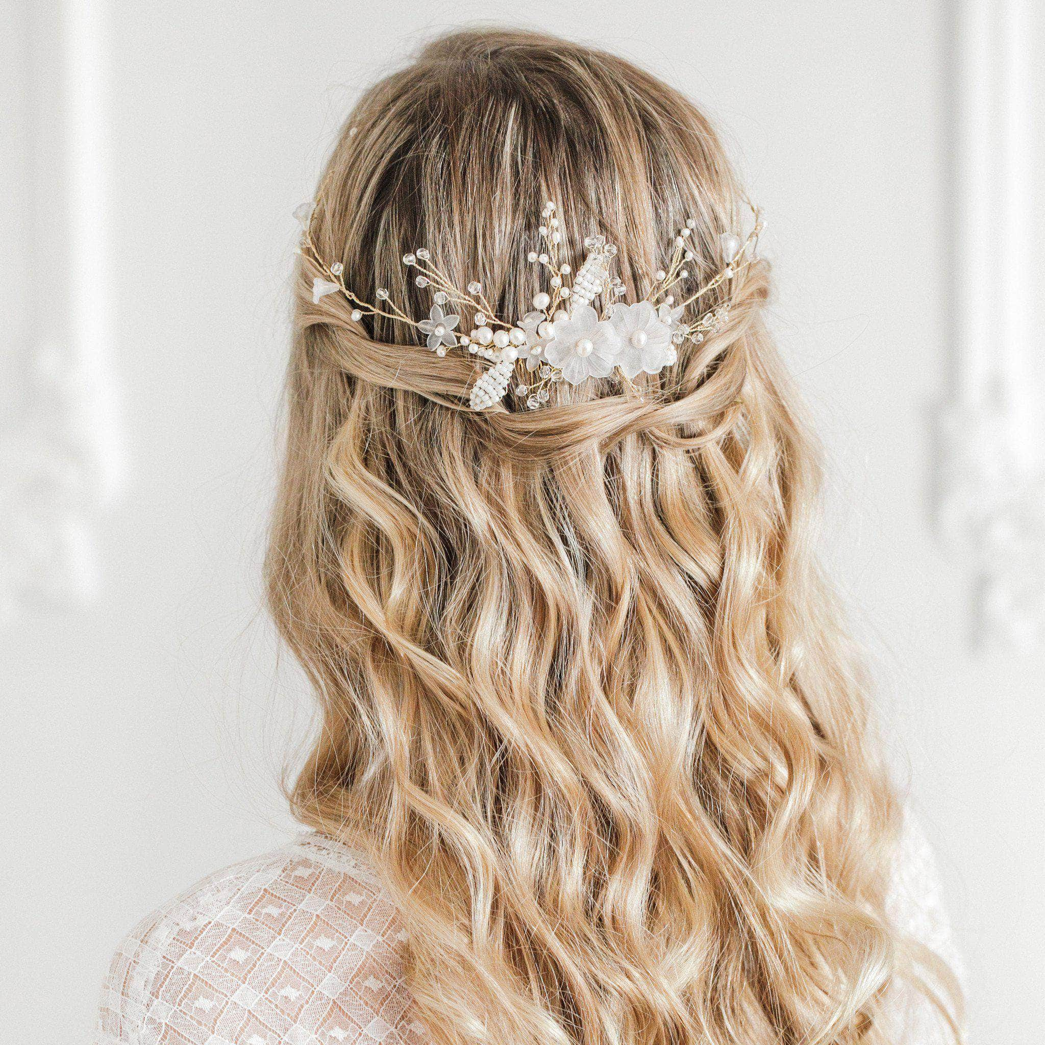silver and ivory floral wedding hair comb vine - 'aster' | britten