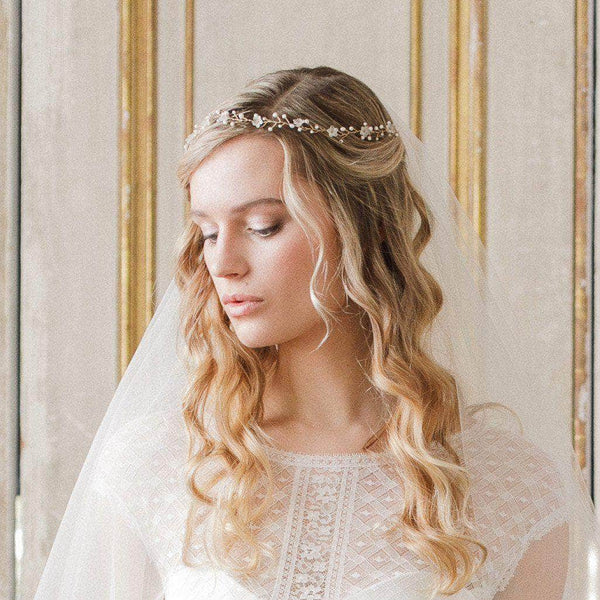 Floral Wedding Hair Comb By Britten: Gold Floral Flexible Wedding Hair Vine- 'Lily'