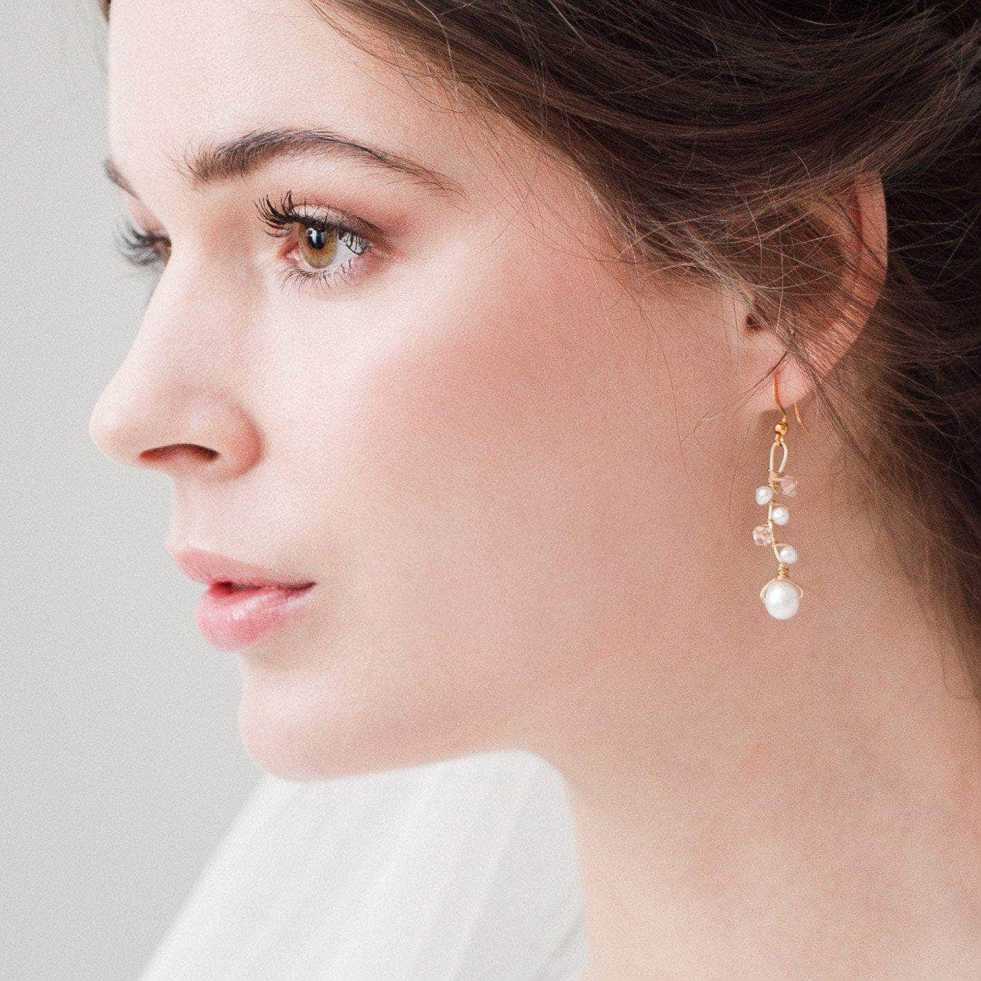 gold and blush wedding earrings