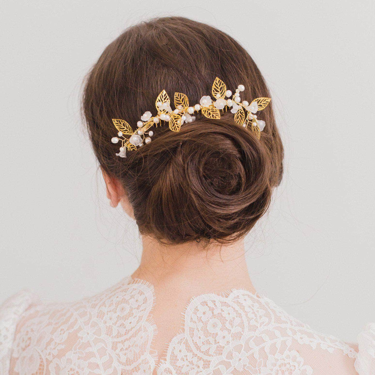Gold leaf and pearl wedding hair comb - 'Istria' | Britten Weddings