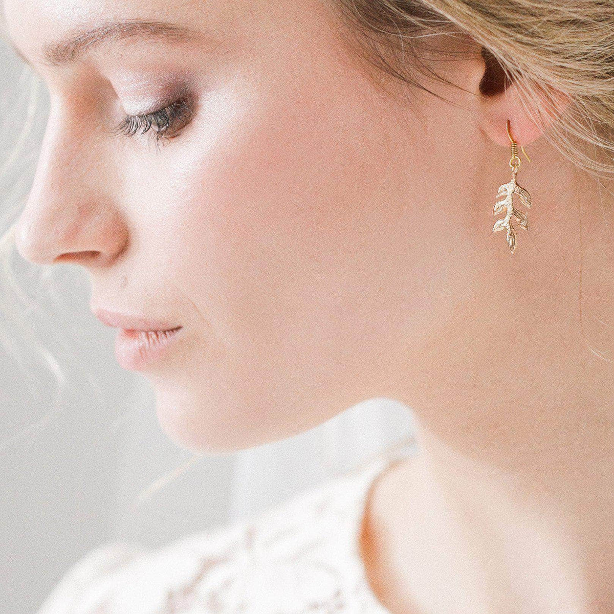 Wedding Earring Rose gold Rose gold leaf earrings for wedding- 'Avani'
