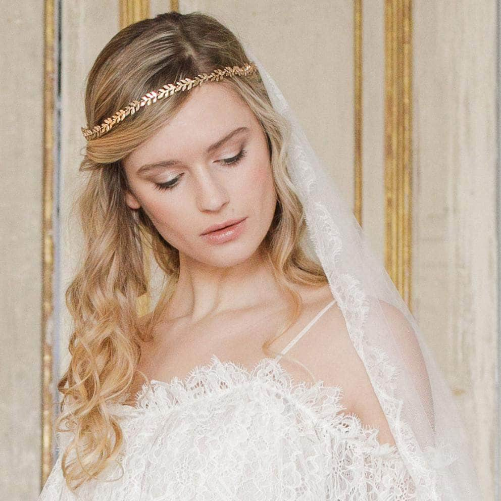 gold leaf wedding hair vine