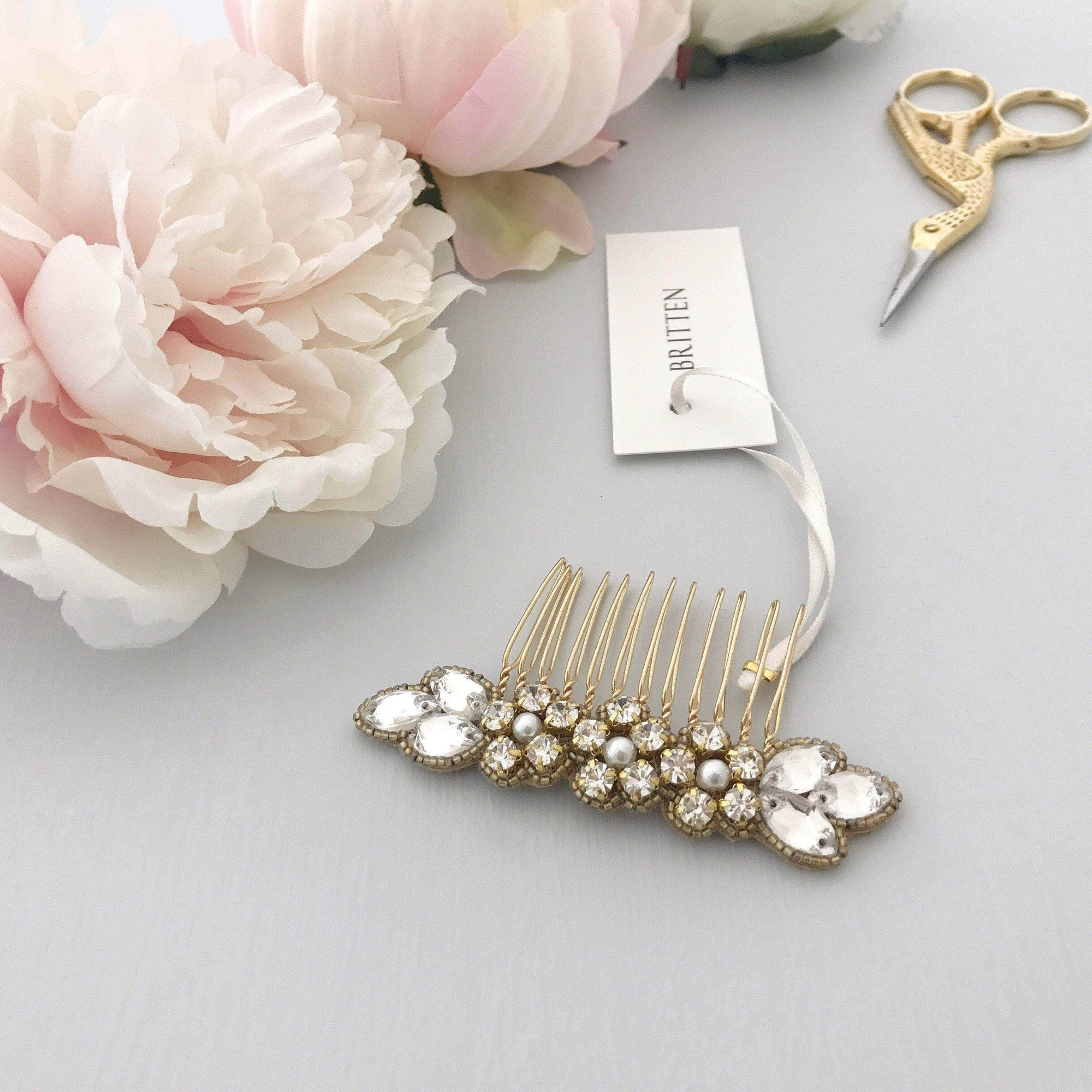 Wedding Haircomb Gold Gold wedding hair comb with super sparkle centre - 'Livia'