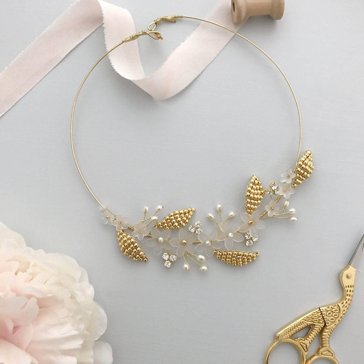 Wedding Necklace Gold Botanical leaf wedding necklace - 'Clover'