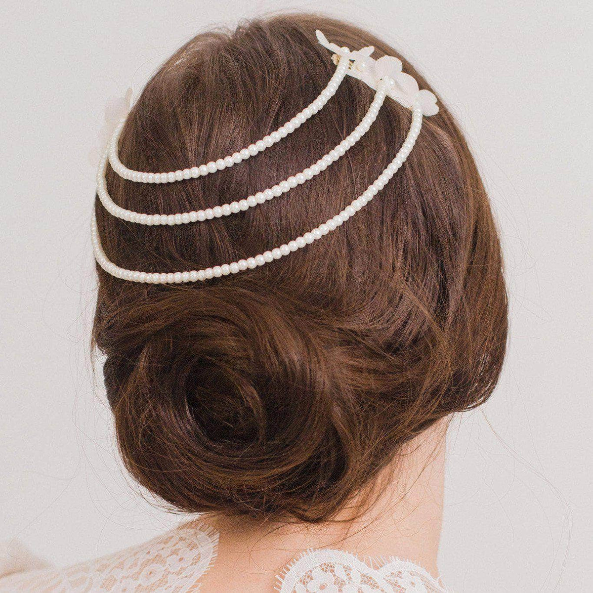 Wedding Hair Comb with Chains Silver Silk flower wedding hair combs with 3 pearl chains - 'Sansé'