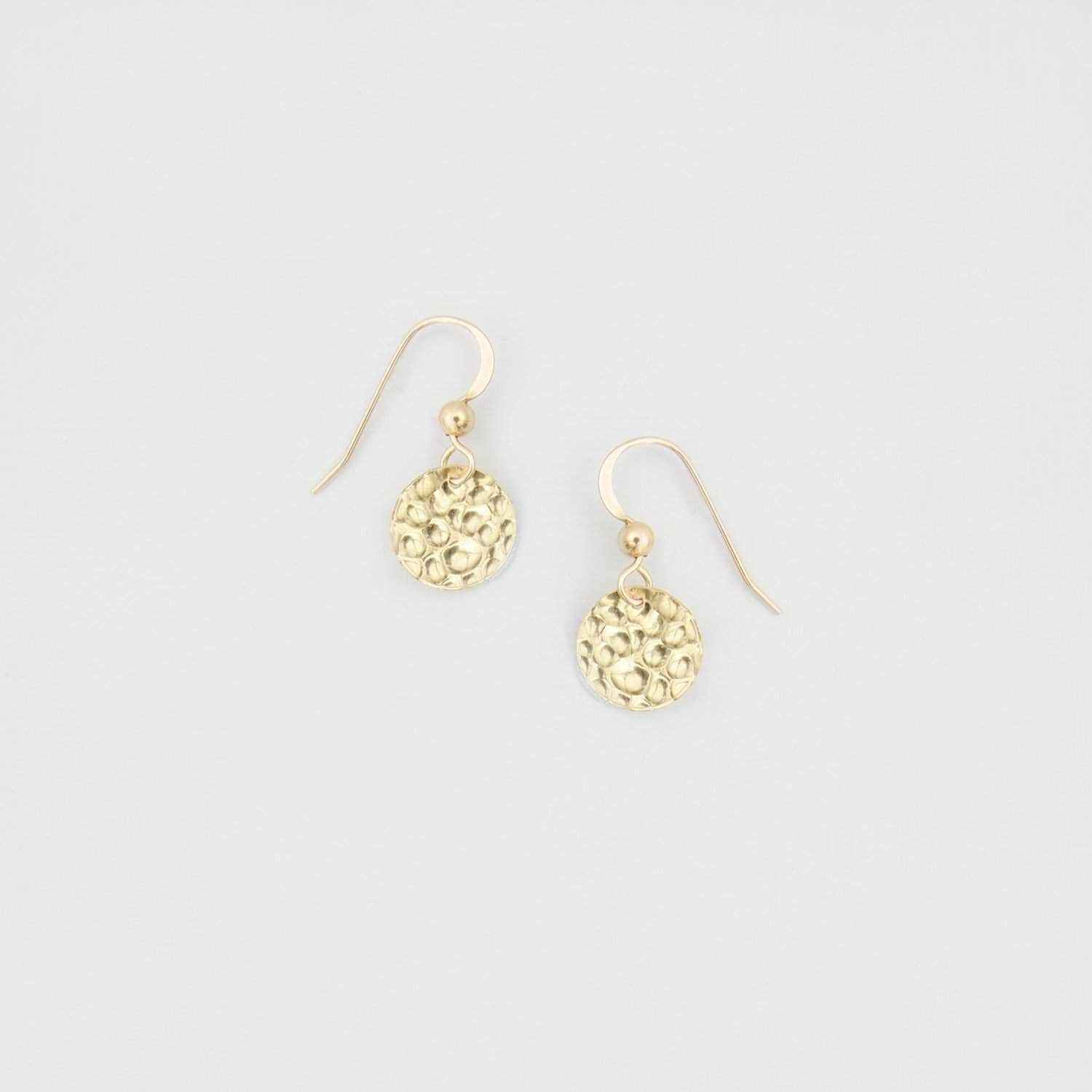 Wedding Earring 14k Gold Filled Gold Hammered Disk Earrings - 'Effie'
