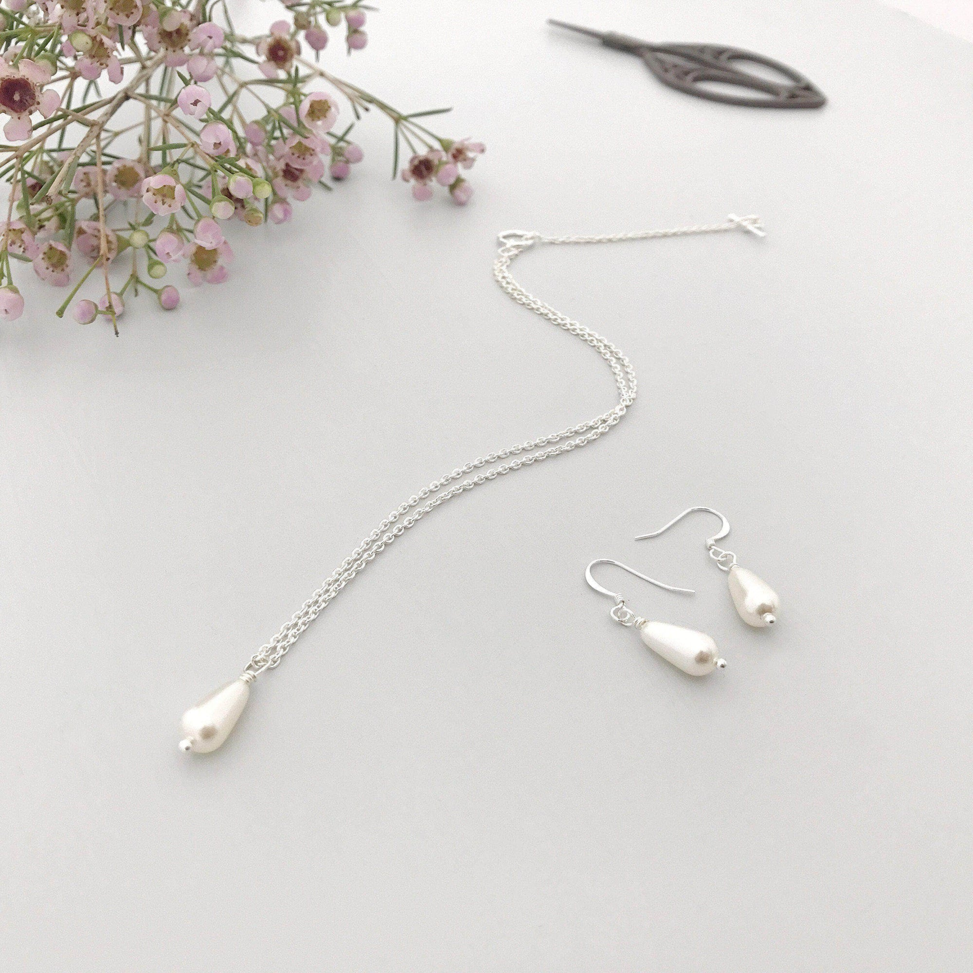 Wedding Necklace Pearl drop wedding necklace and earring set (different sizes available) - 'Hermie'
