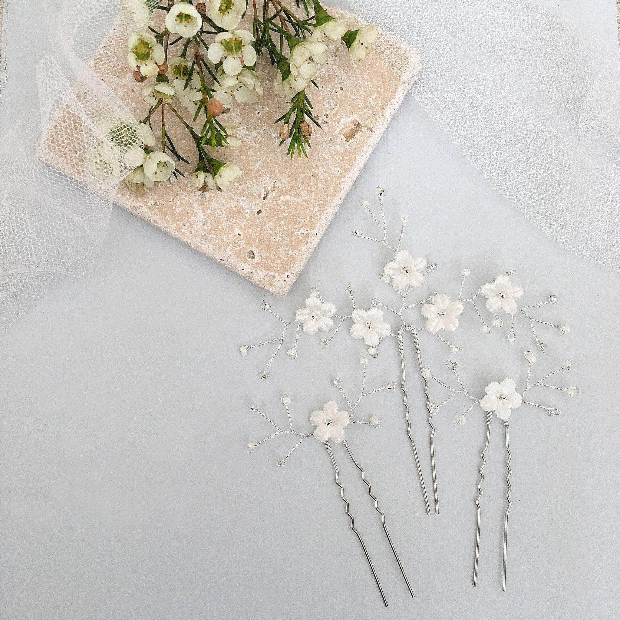 Flower Hair Pins For Wedding: Ivory Flower Wedding Hair Pins With Silver Sprays Set