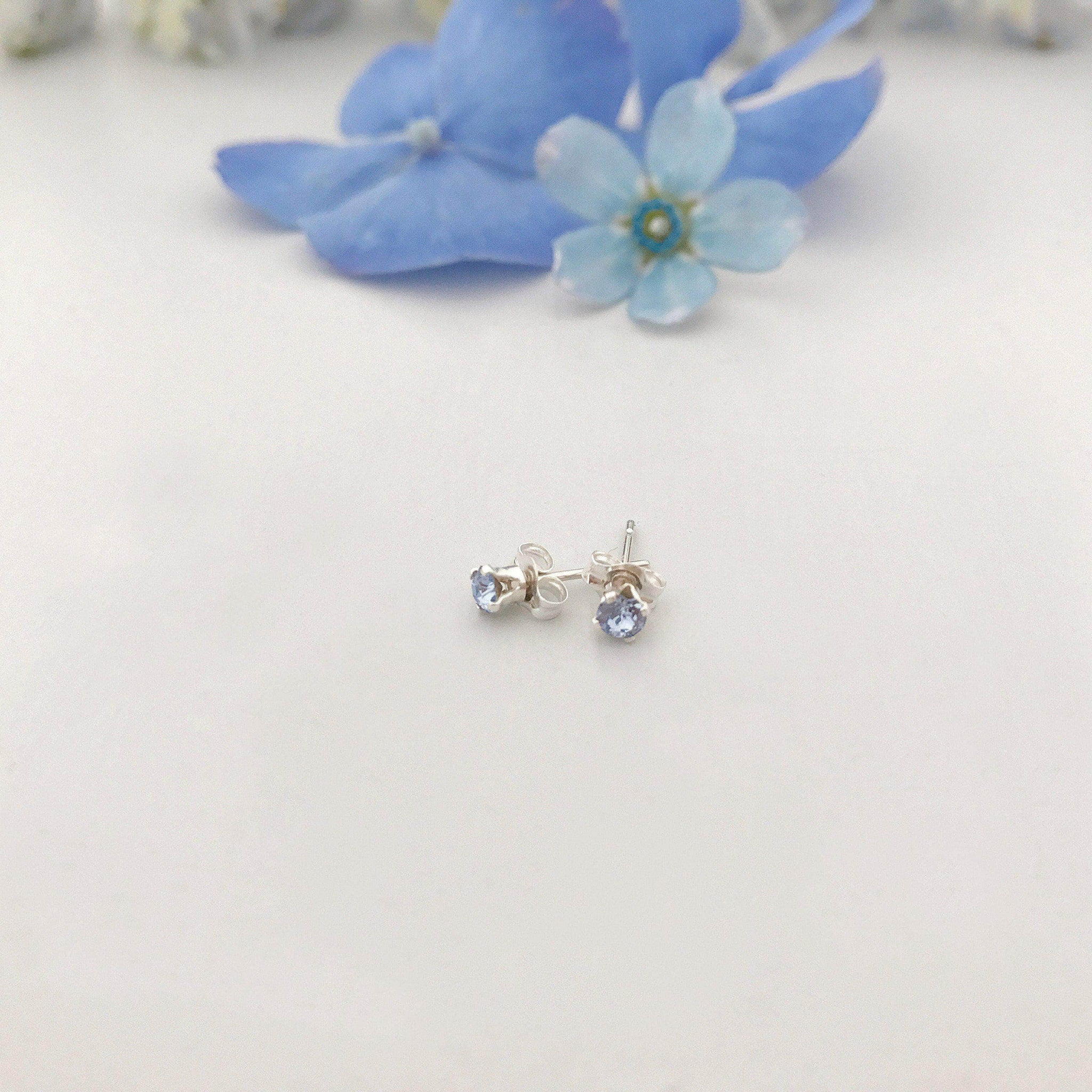 Something blue crystal stud wedding earrings - 'Ida'
