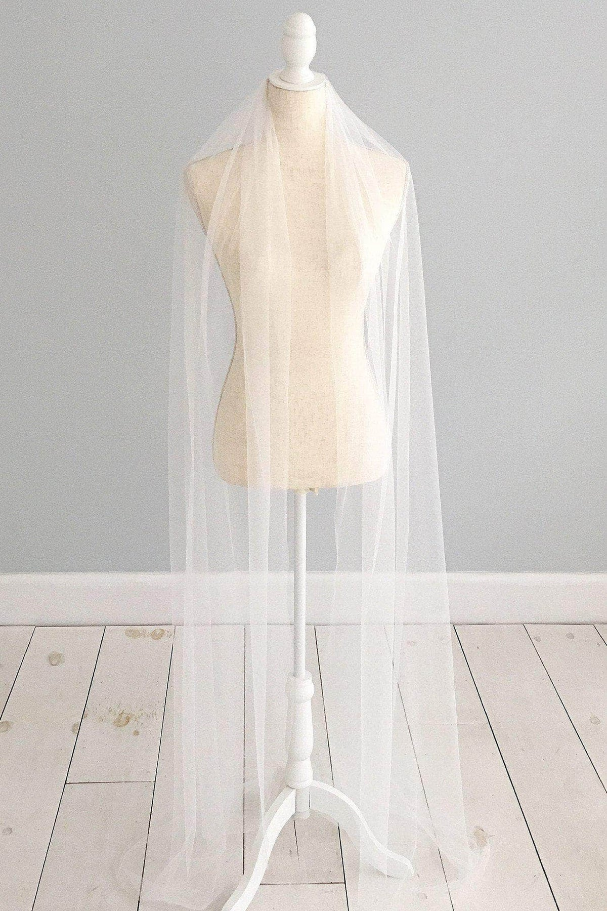 Wedding Veil Single tier cut edge silk style wedding veil - 'Isabella'