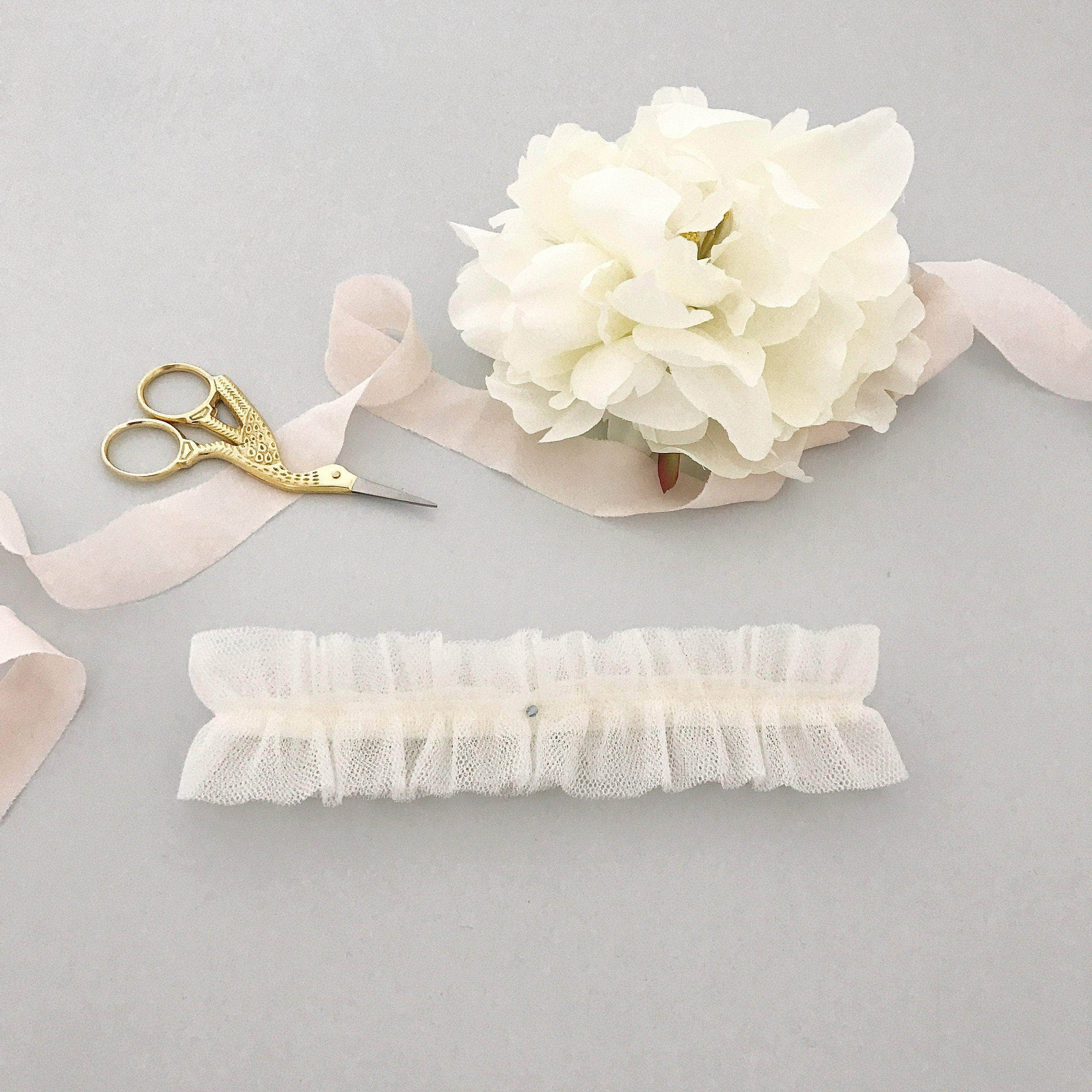 Wedding Garter Silk style tulle wedding garter with something blue crystal - 'Isabella'
