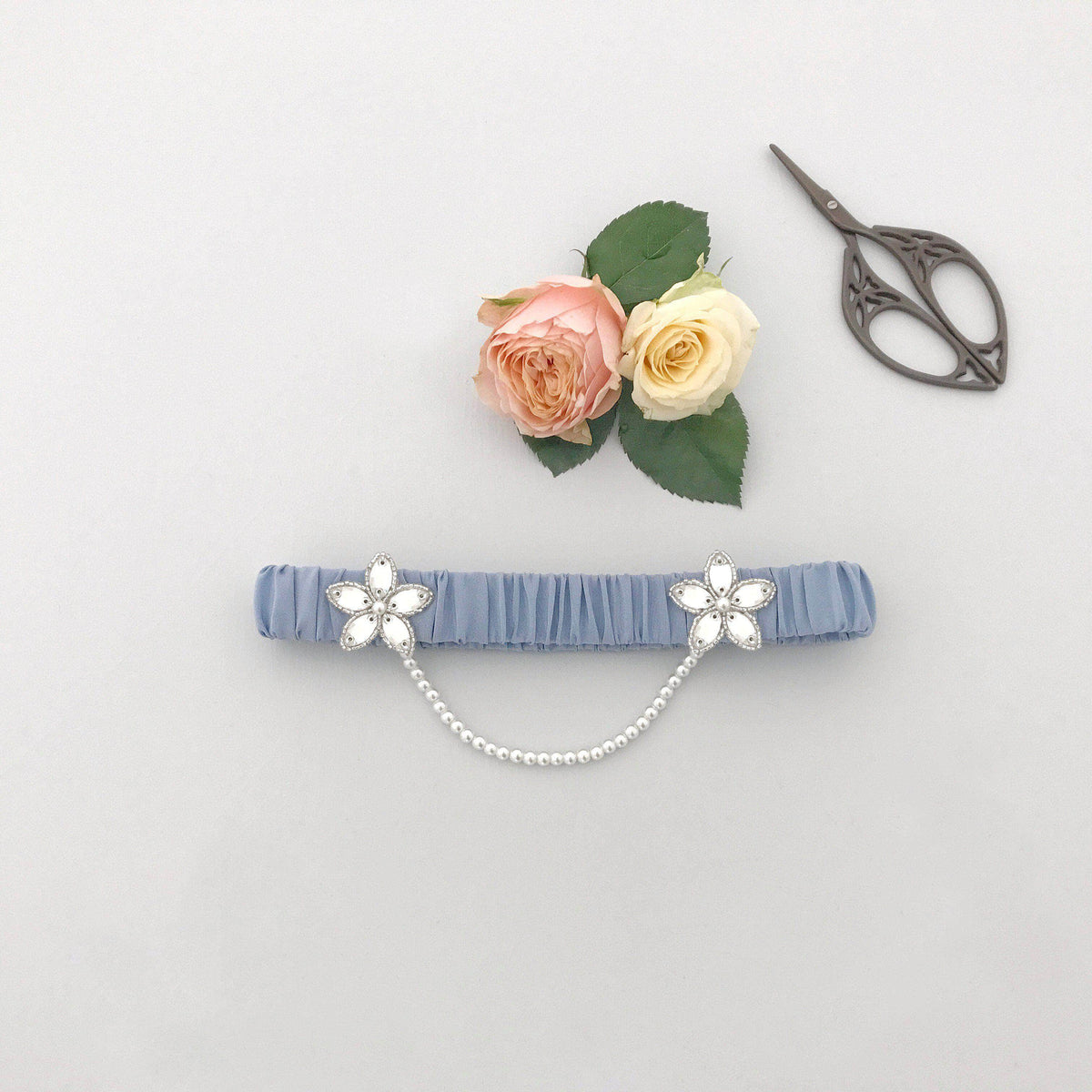 Wedding Garter Cornflower blue / Extra small 35-40cm (13.5-16 inch) Luxury silk wedding garter with pearl chain (various colours) - 'Iva'