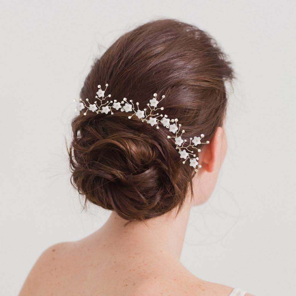 Silver flower spray wedding hair pins x3 jasmine britten flower wedding hair pins izmirmasajfo