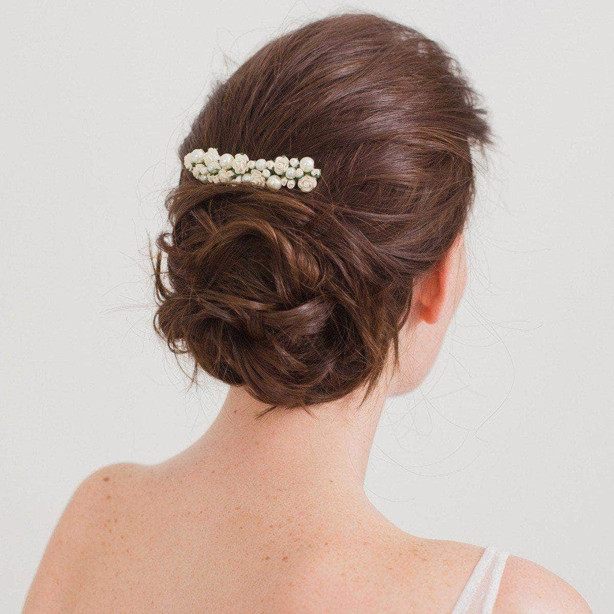 Floral Wedding Hair Comb By Britten: Wedding Hair Comb With Roses And Pearls - 'Rosa'