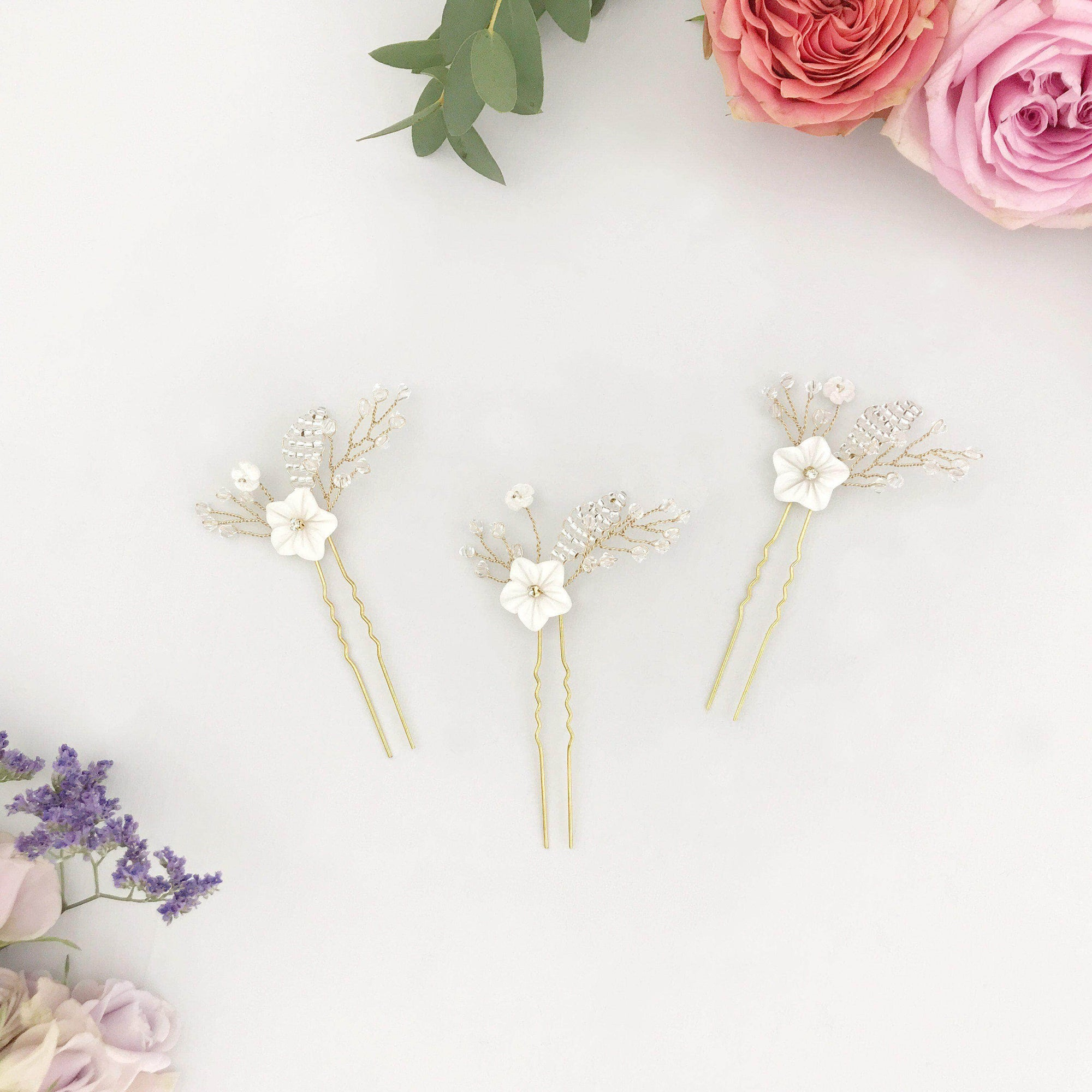 gold pearl flower pins