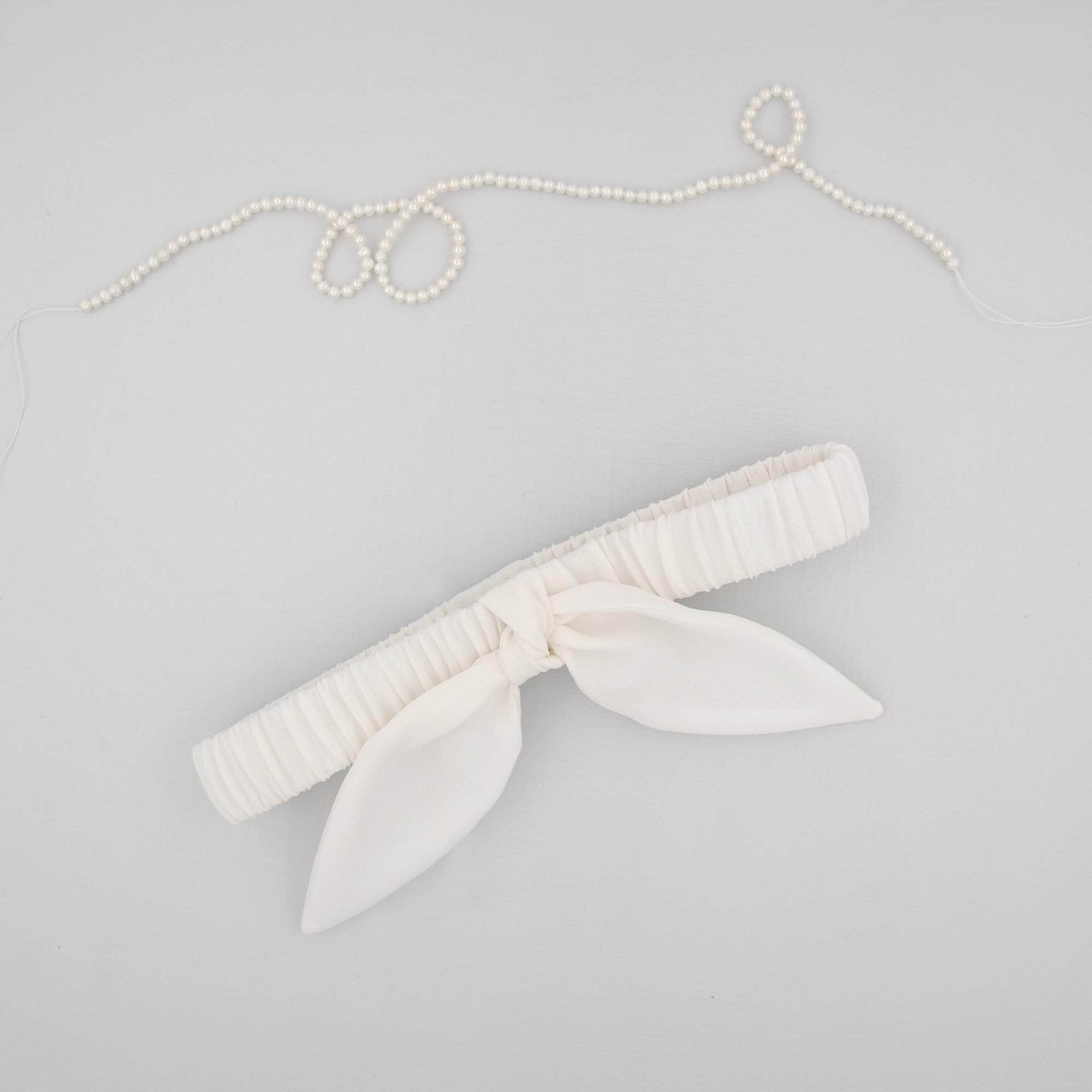 Wedding Garter Ivory Silk Bow Garter - 'Bianca'