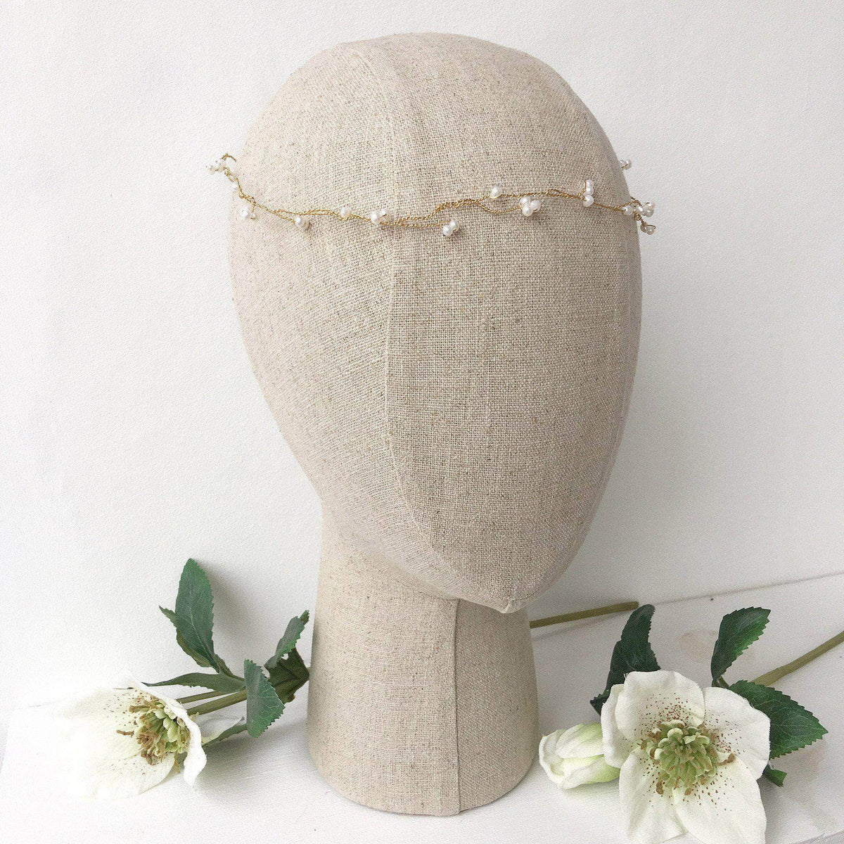 Wedding Hairvine Freshwater pearl flexible wedding hair vine on gold plated wire - 'Ivy'