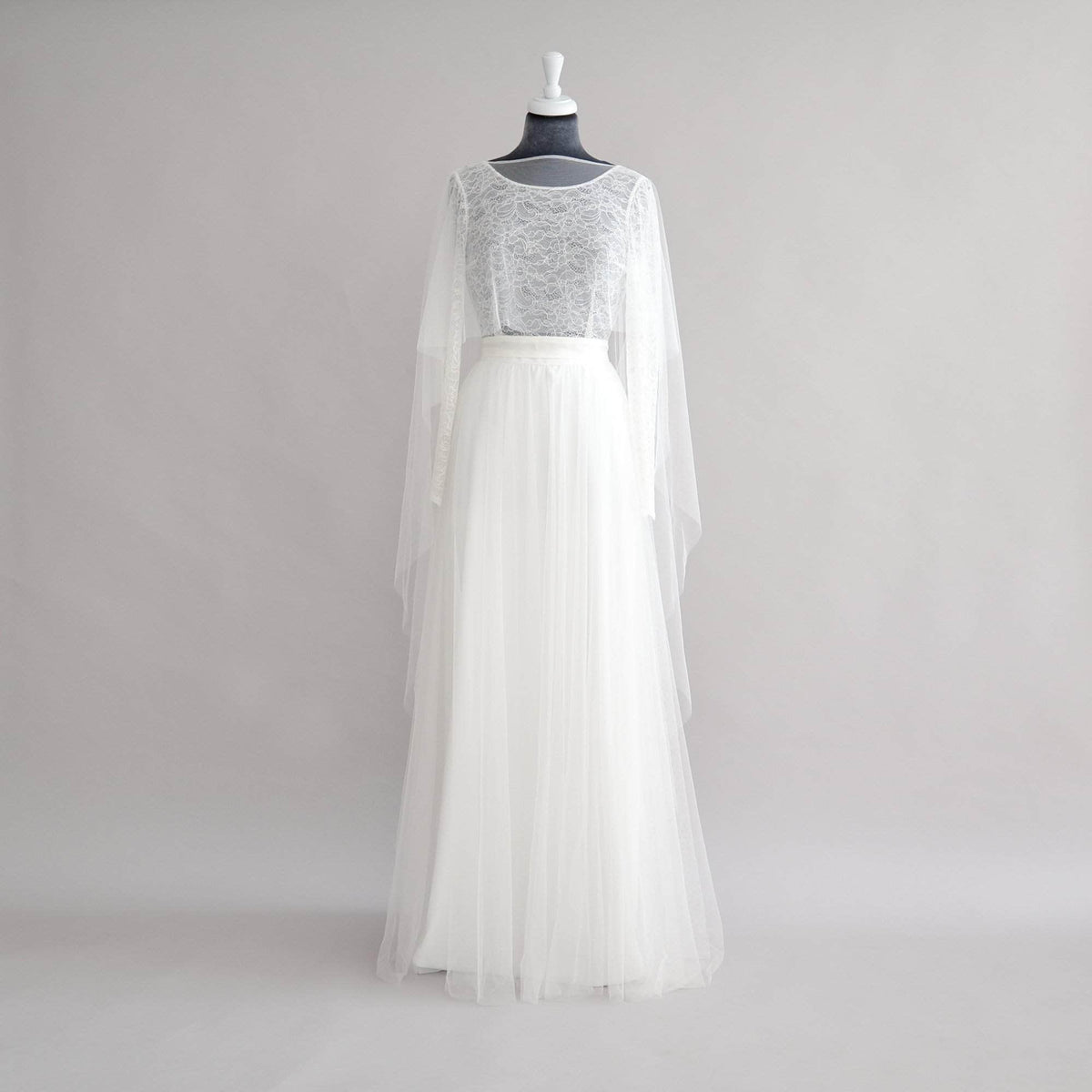 Wedding Cover Up Silk style tulle short front cape - 'Jade'