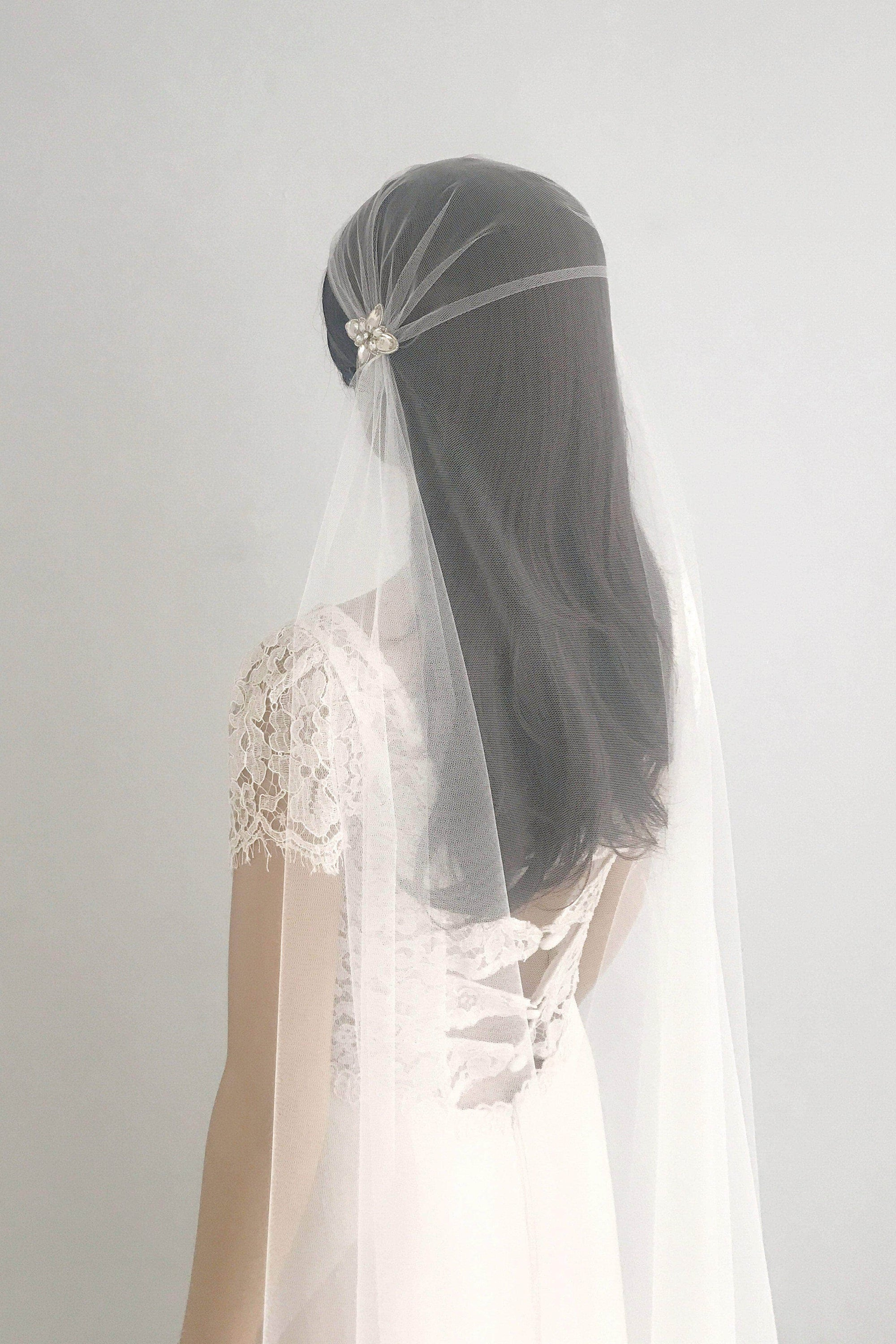 Wedding Veil Juliet cap wedding veil with crystal beading embellishments - 'Perla'