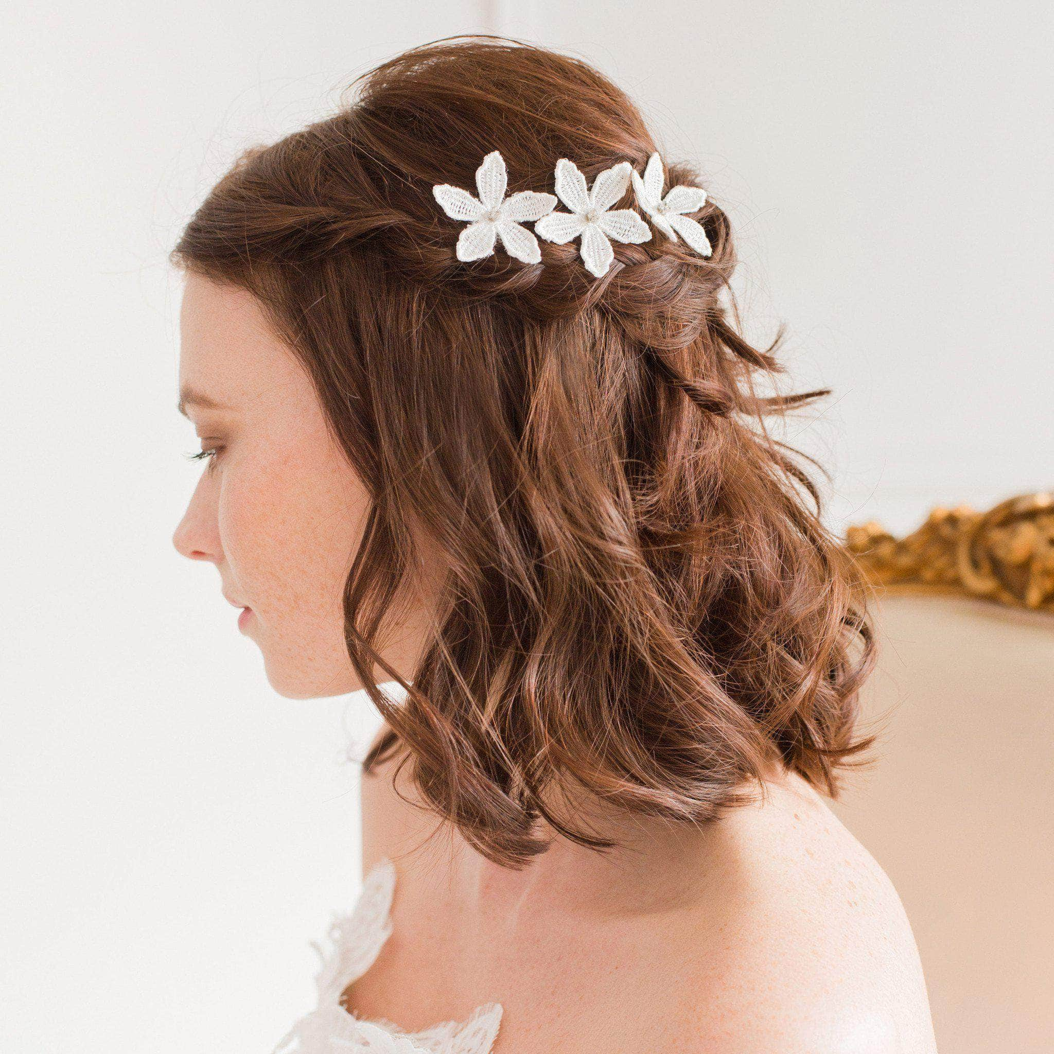 lace flower silver wedding hair pins