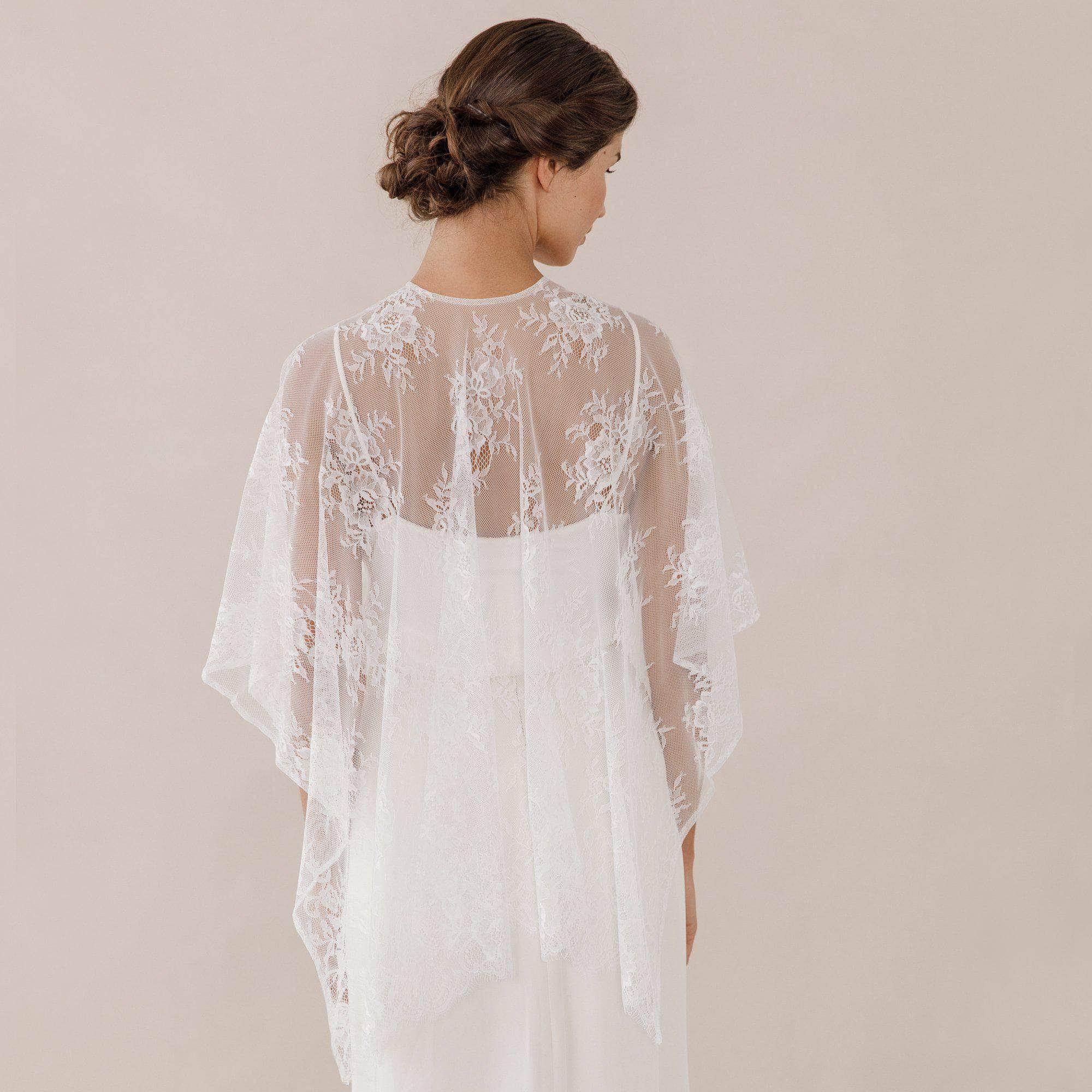 Wedding Cover Up Pale ivory Lace bridal wrap - 'Charis'