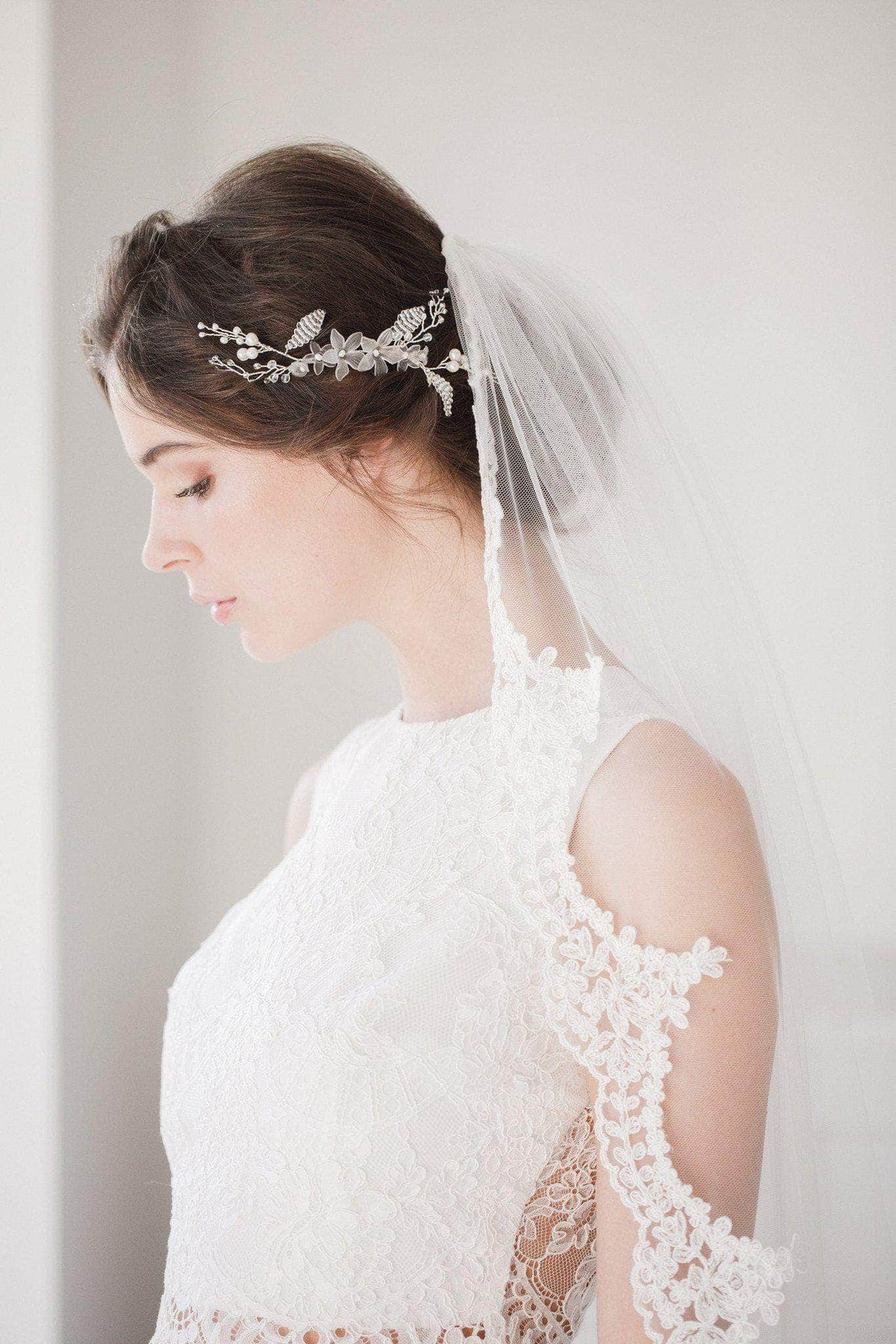 Wedding Veil Full lace edged ivory wedding veil - 'Luisa'