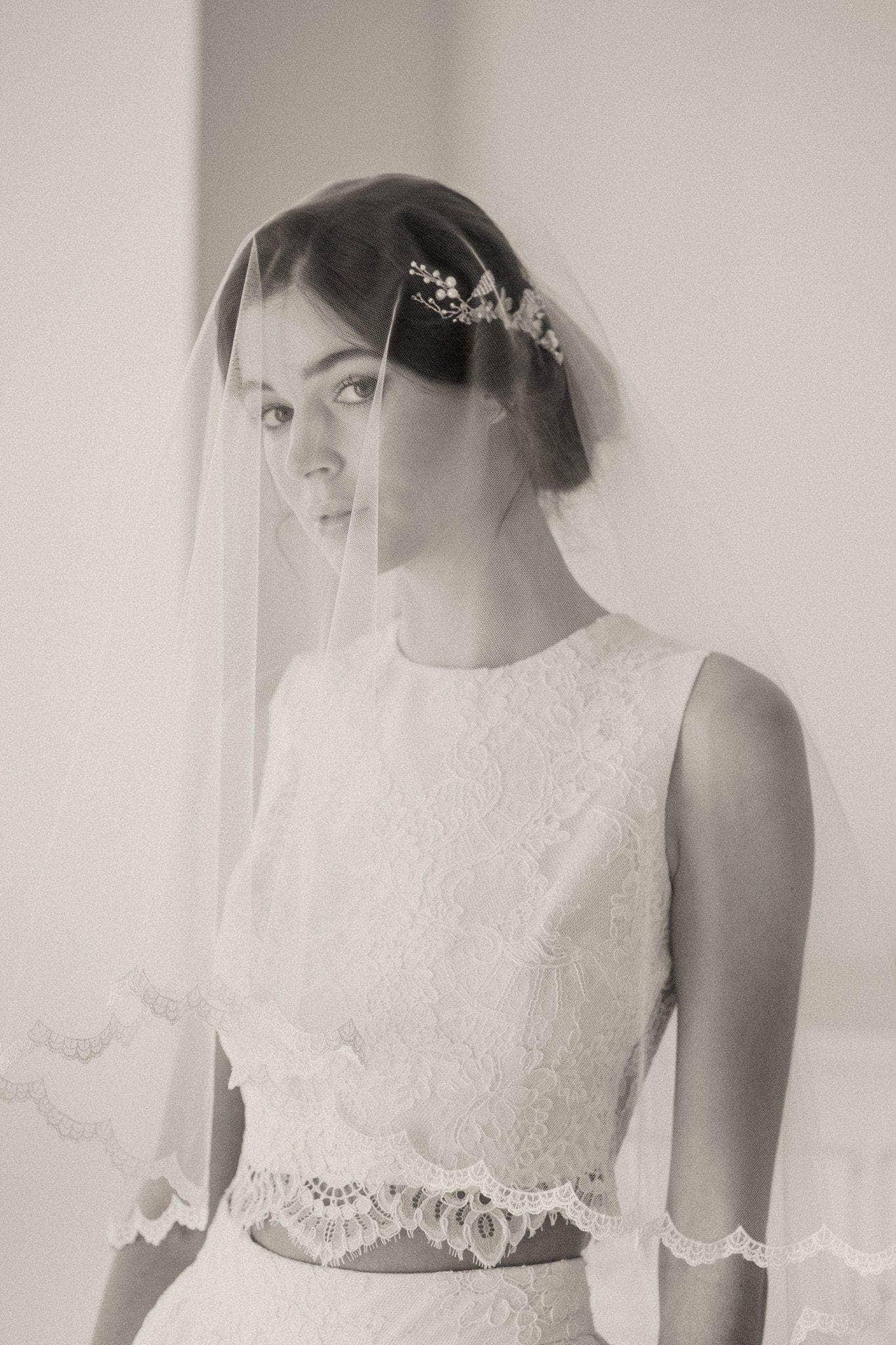 Wedding Veil Two tier delicate lace edged wedding veil - 'Ada'