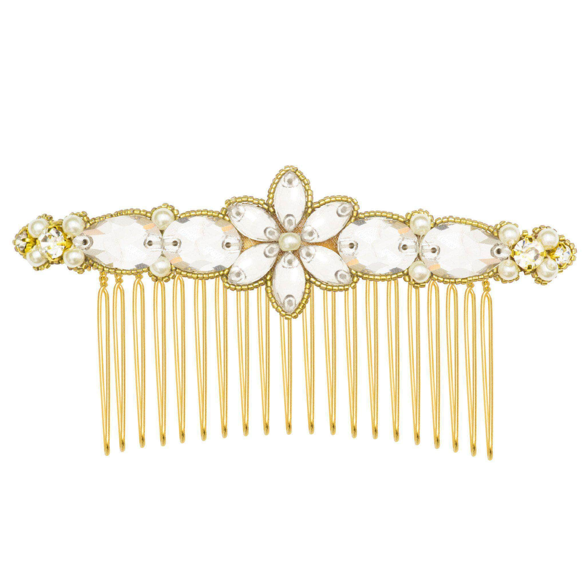 Gold wedding hair comb