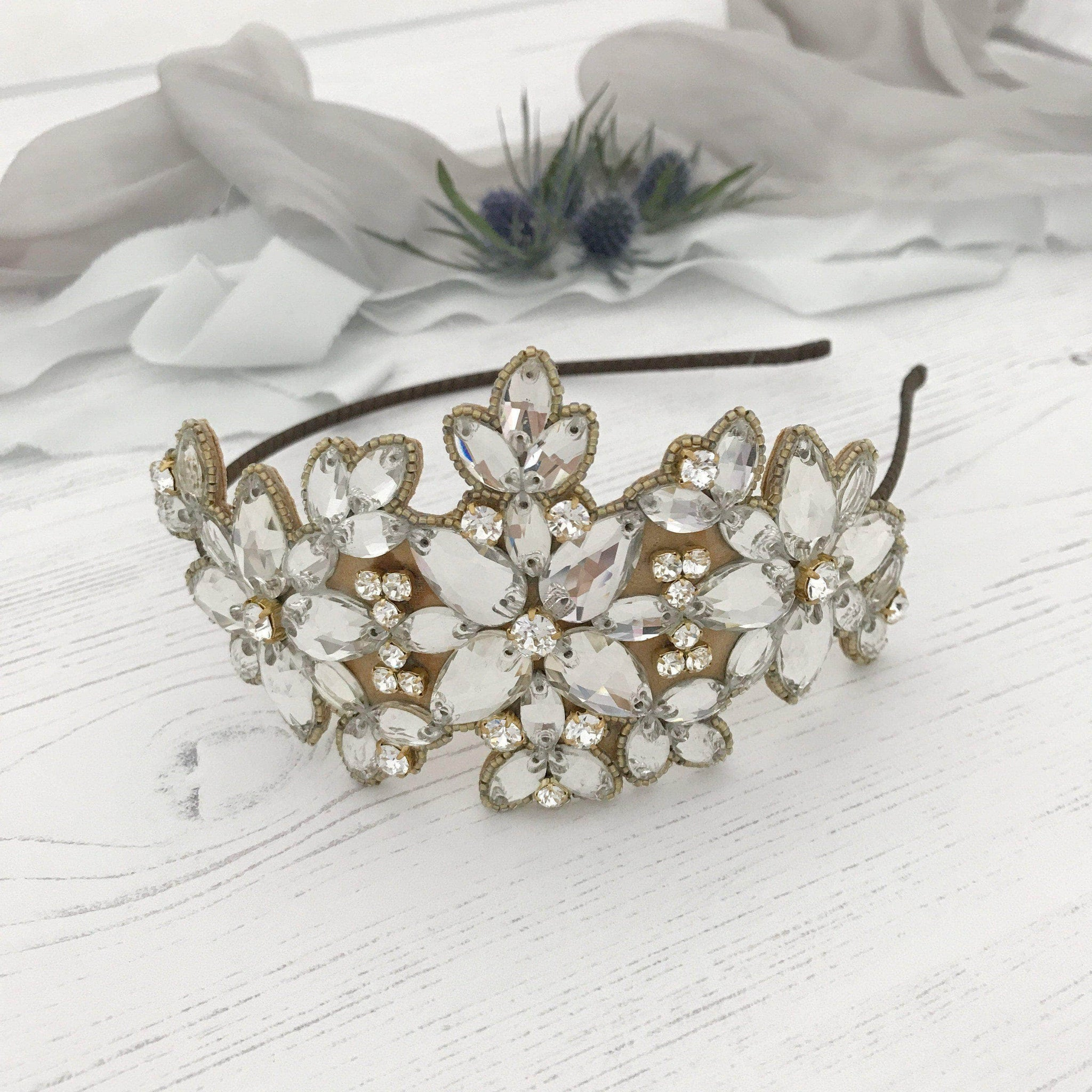 Statement crystal wedding headband gold 'Laurie'