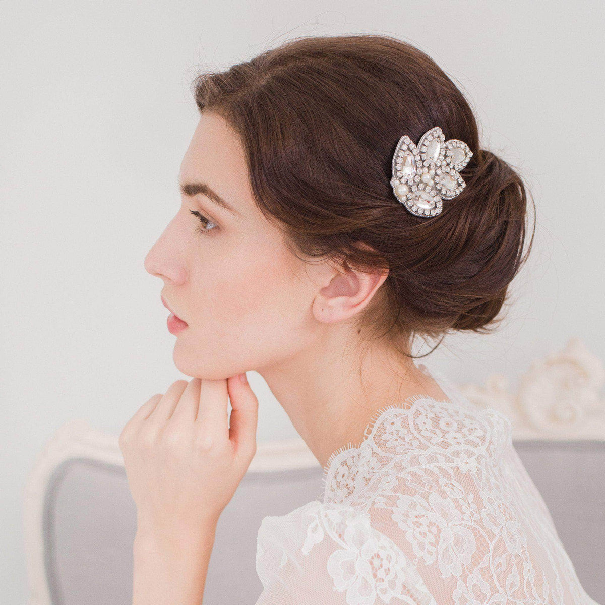 Wedding Haircomb Silver Small crystal hair comb; leaf pattern - 'Callia piccolo'