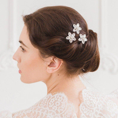 Gold wedding hair pins with crystal flower (x3) - 'Lena'
