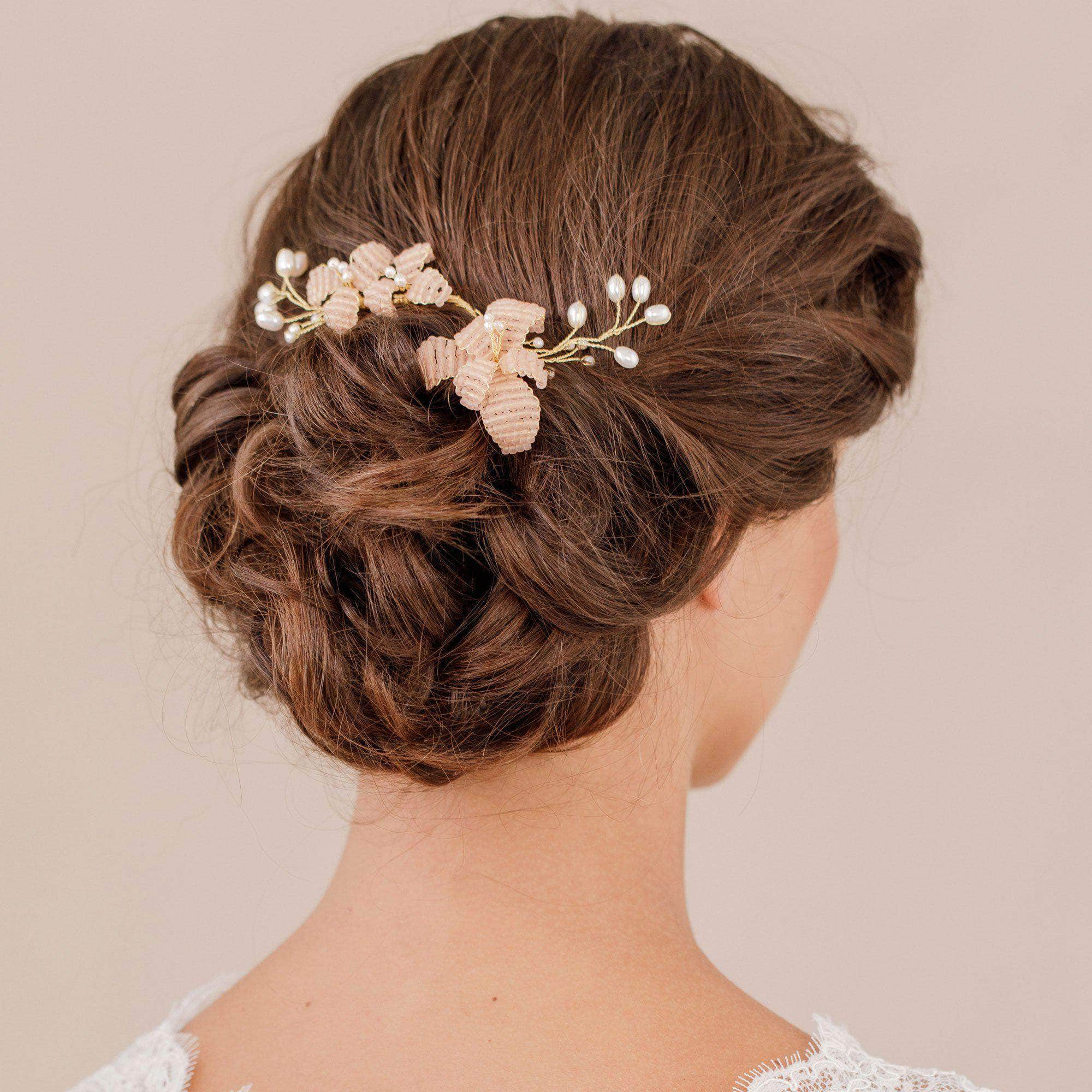 Wedding Hairvine Blush floral pearl headpiece - 'Magnolia'