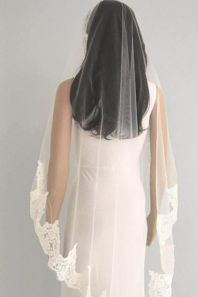 Lace mantilla wedding veil - 'Adela'