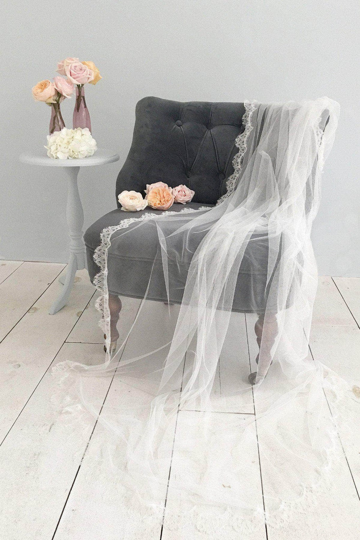 Wedding Veil Silk style wedding veil with french eyelash lace trim- 'Mia'