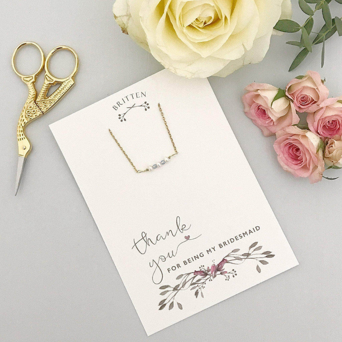 Bridesmaid Gift Gold Bridesmaid 'Thank You' gift gold bracelet - 'Mollie'
