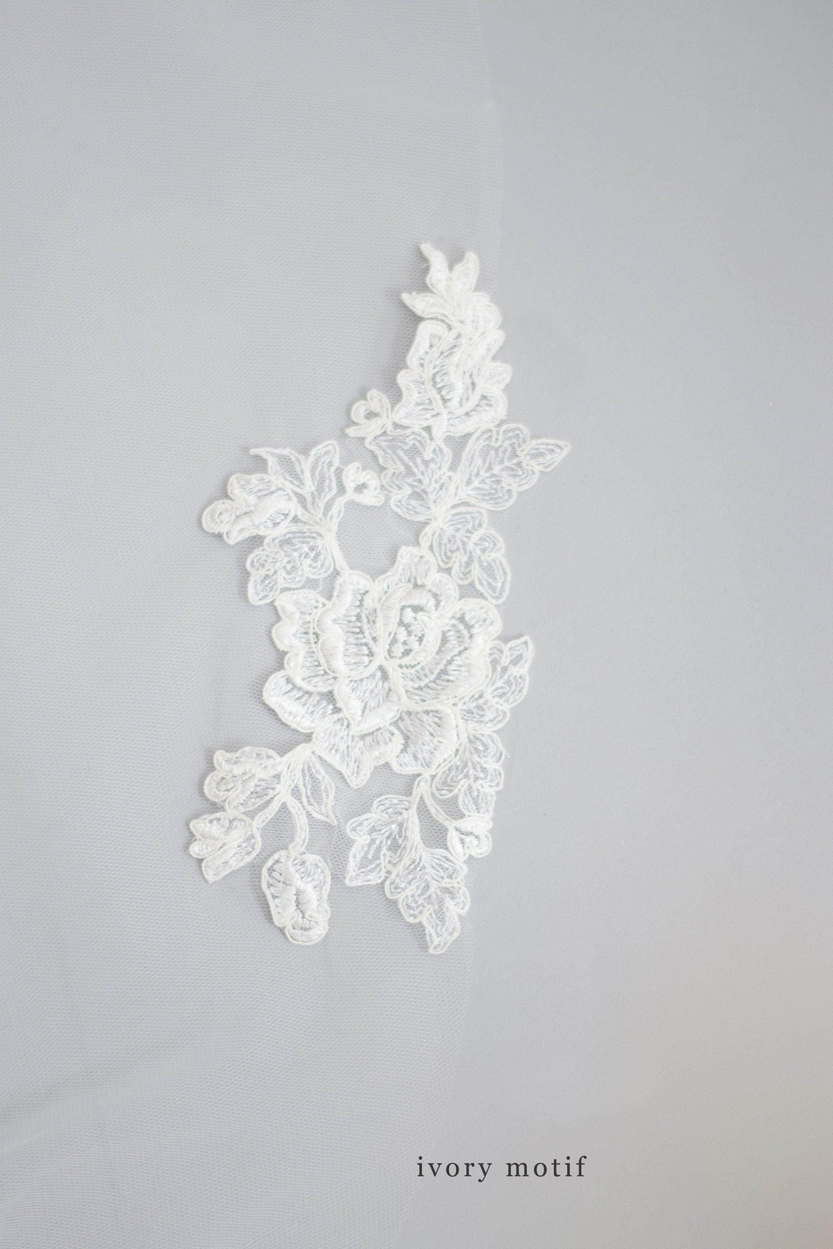 Wedding Veil Lace flower motif train wedding veil - 'Amara'