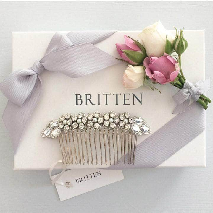 Wedding Haircomb Silver Silver wedding hair comb with super sparkle centre - 'Olivia'