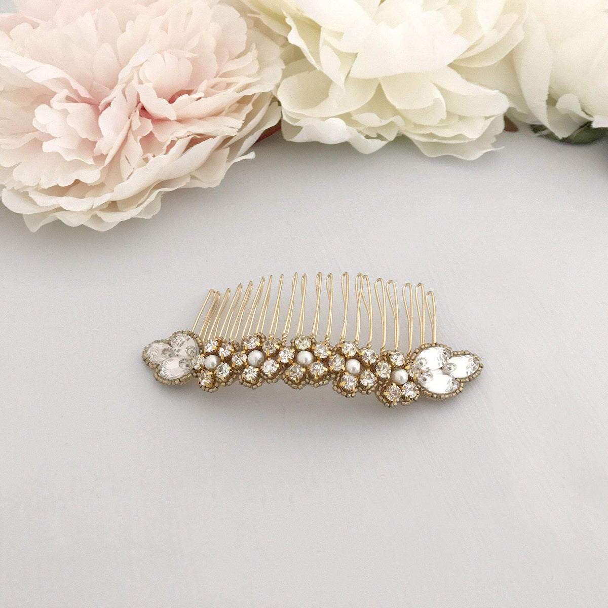 Wedding Haircomb Gold Gold wedding hair comb with super sparkle centre - 'Olivia'