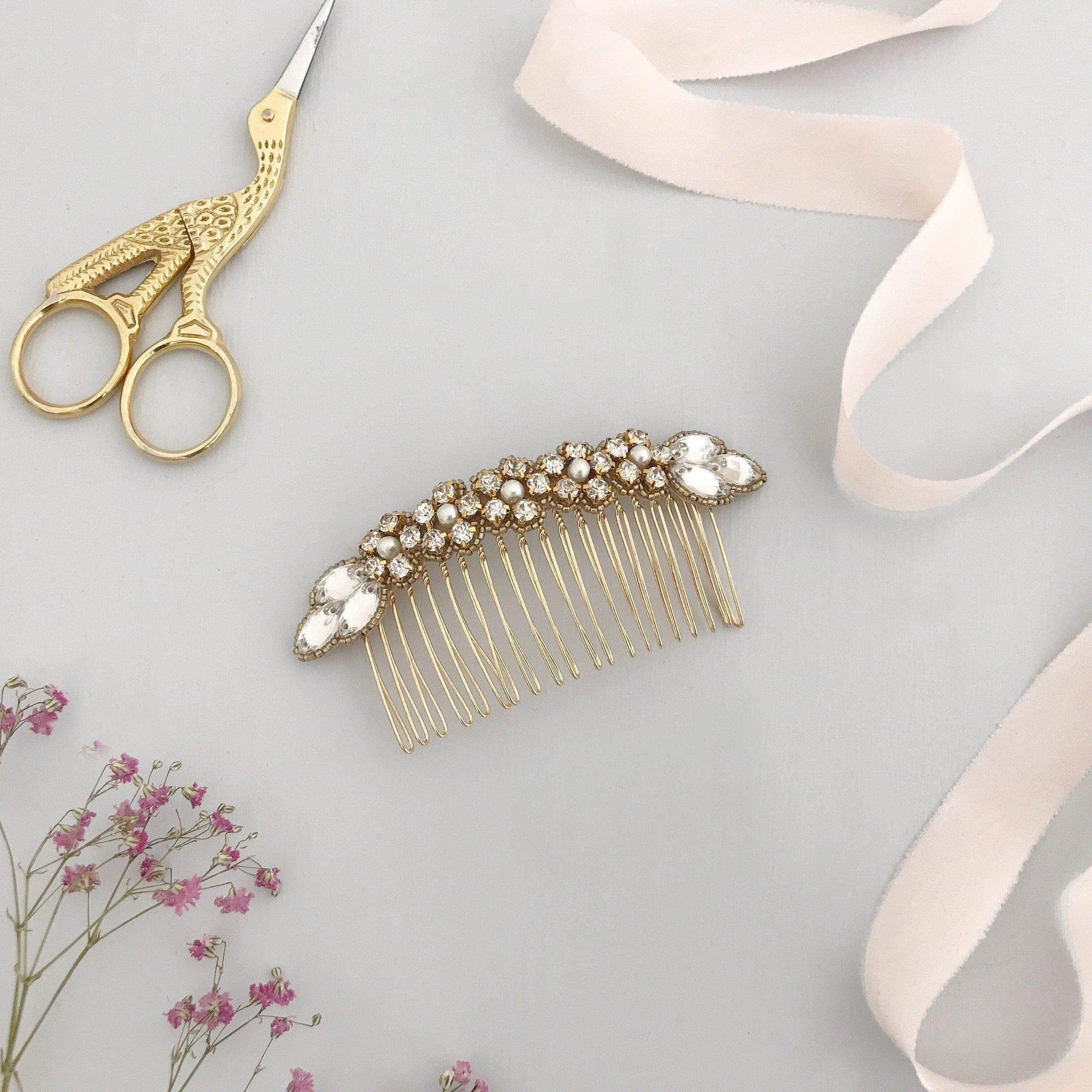 olivia gold wedding comb