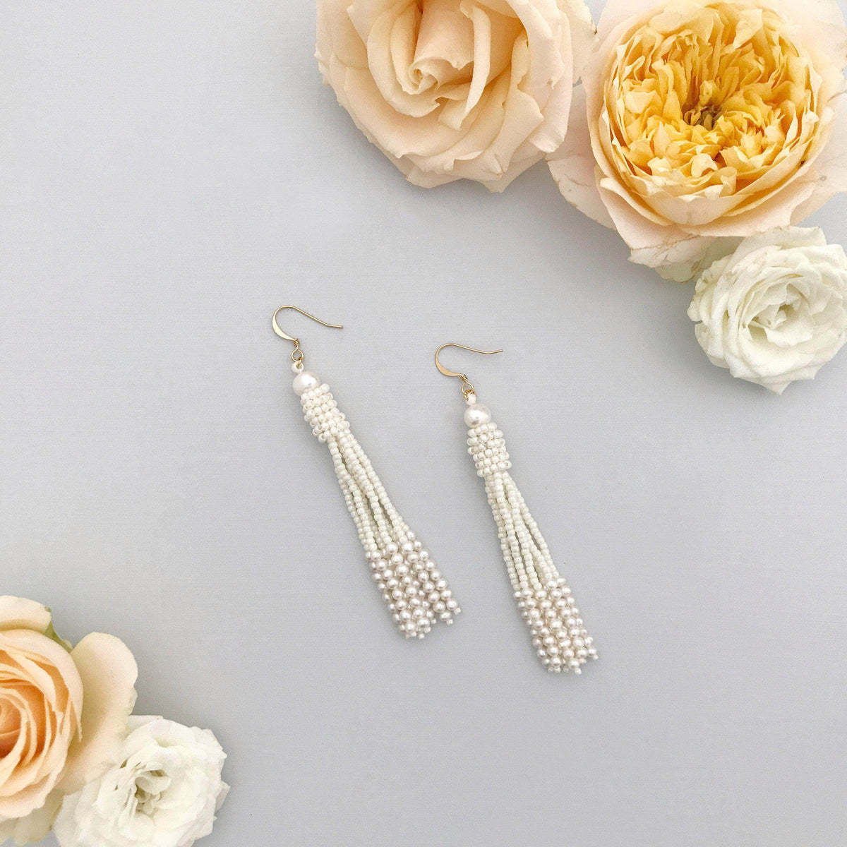 Wedding Earring Pearl Pearl wedding tassel earrings - 'Pearl'
